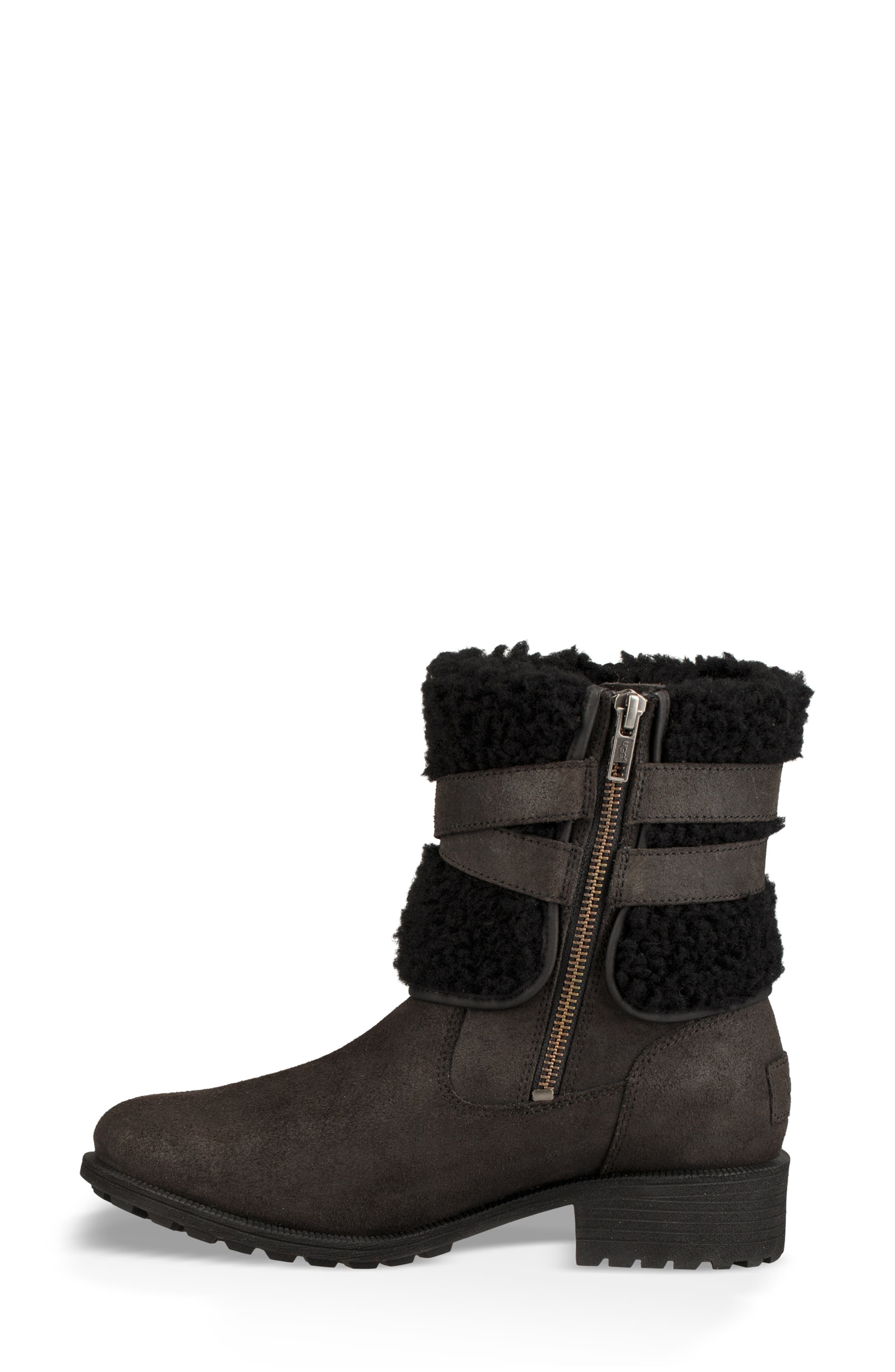 Blayre III Faux Shearling Cuff Bootie,                             Alternate thumbnail 6, color,                             BLACK
