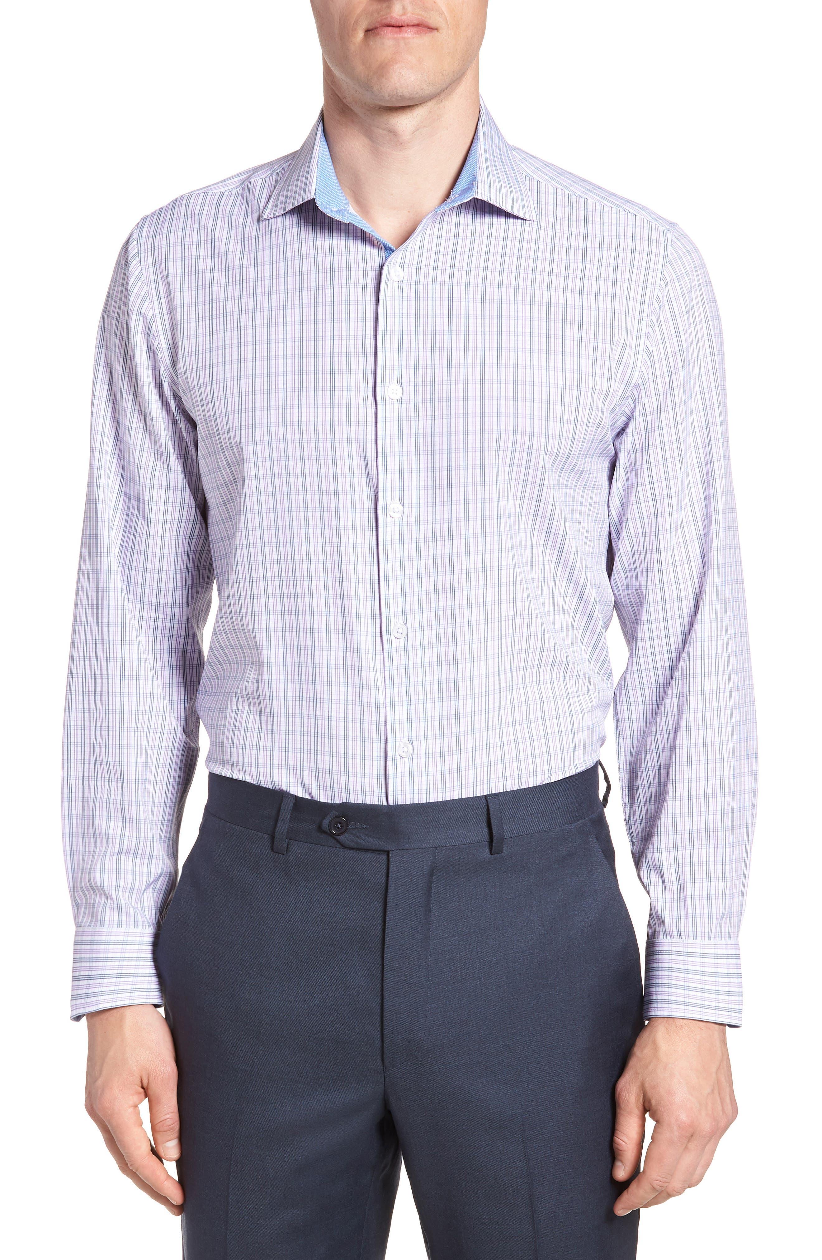 Trim Fit Check 4-Way Stretch Dress Shirt,                         Main,                         color, PURPLE
