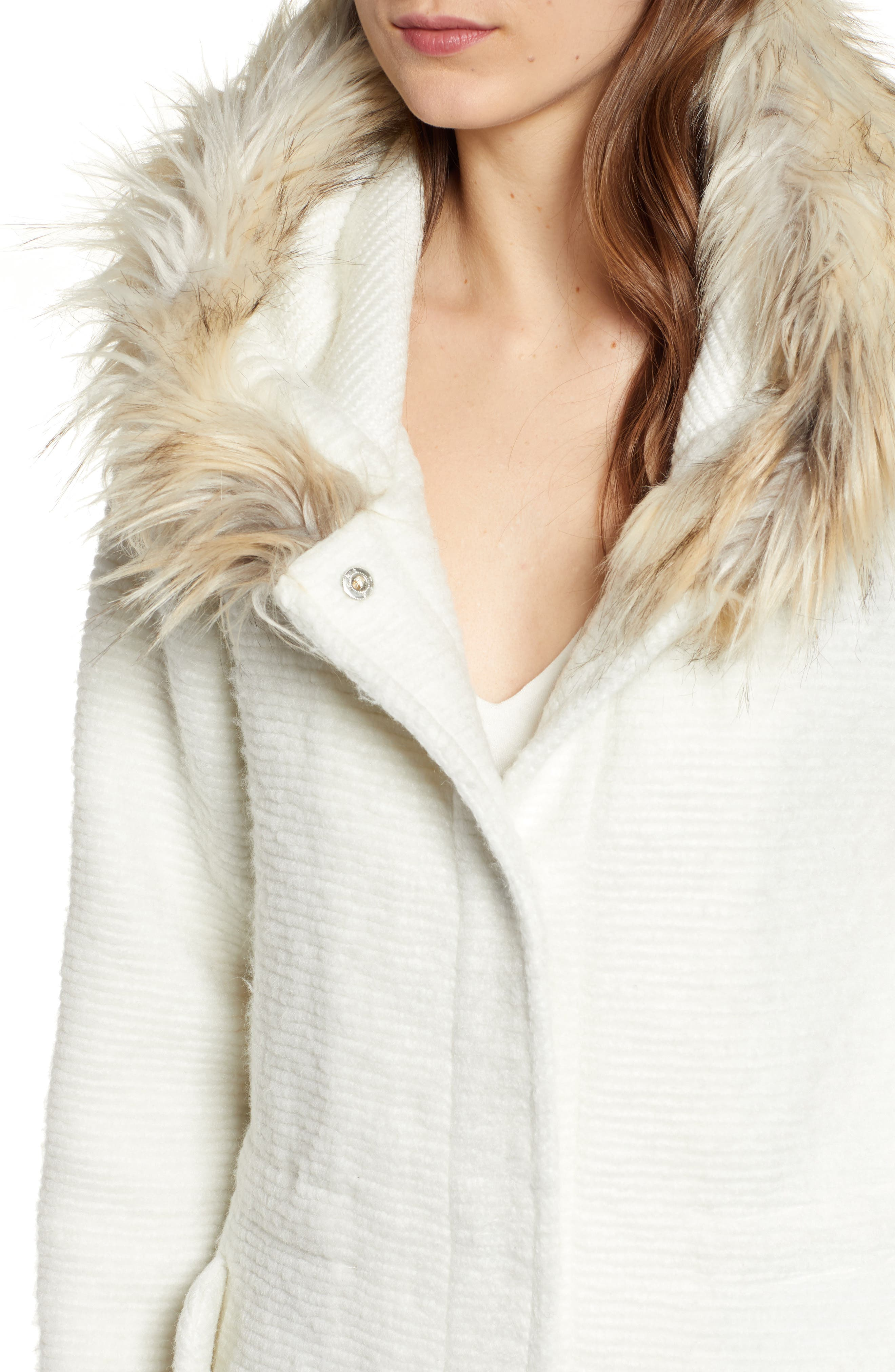 Coat On Ribbed Coat with Faux Fur Trim,                             Alternate thumbnail 4, color,                             IVORY
