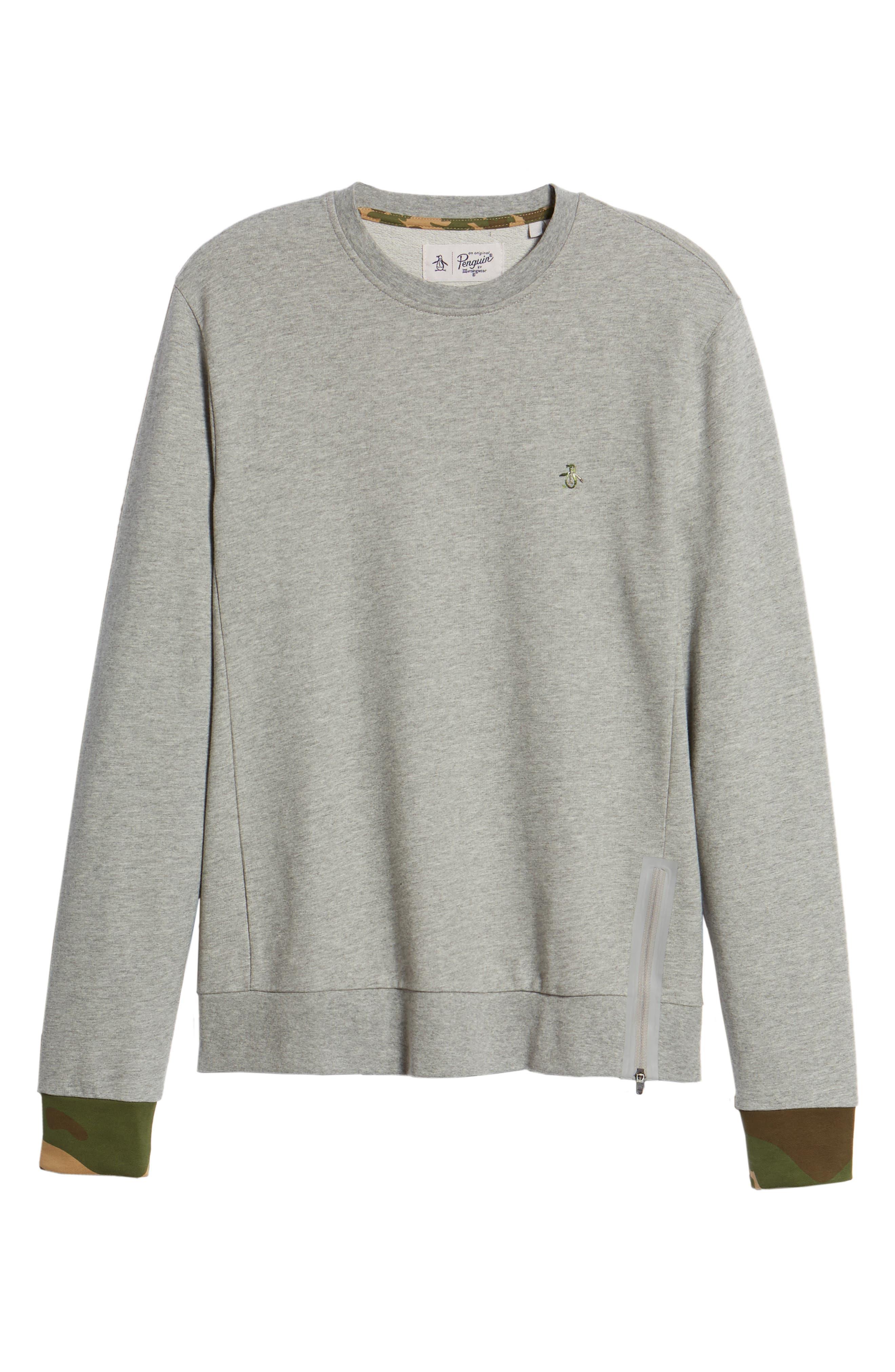 Camo Cuff Sweatshirt,                             Alternate thumbnail 6, color,                             RAIN HEATHER
