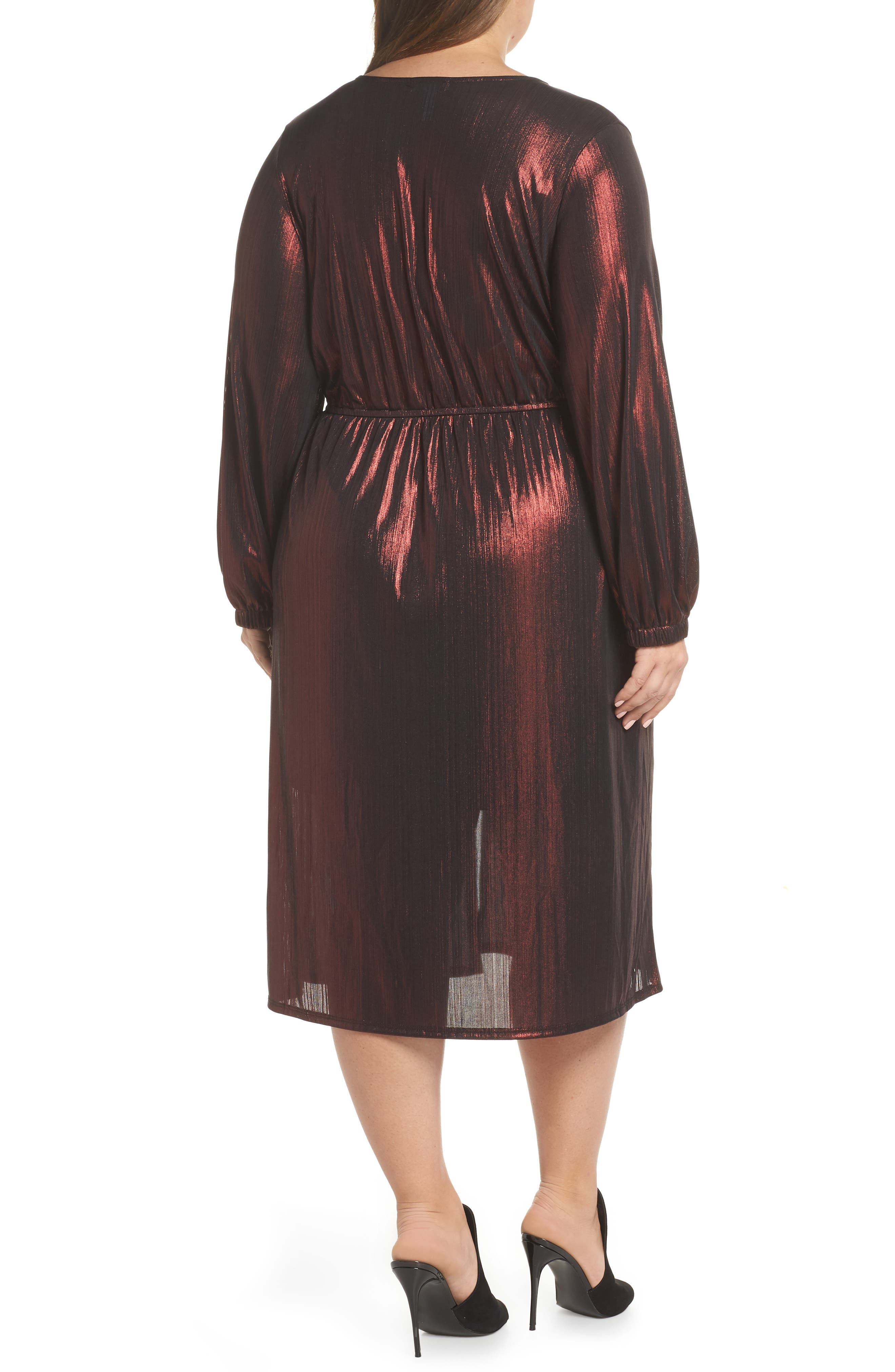 Long Sleeve Deep V-Neck Midi Dress,                             Alternate thumbnail 2, color,                             ROSE GOLD