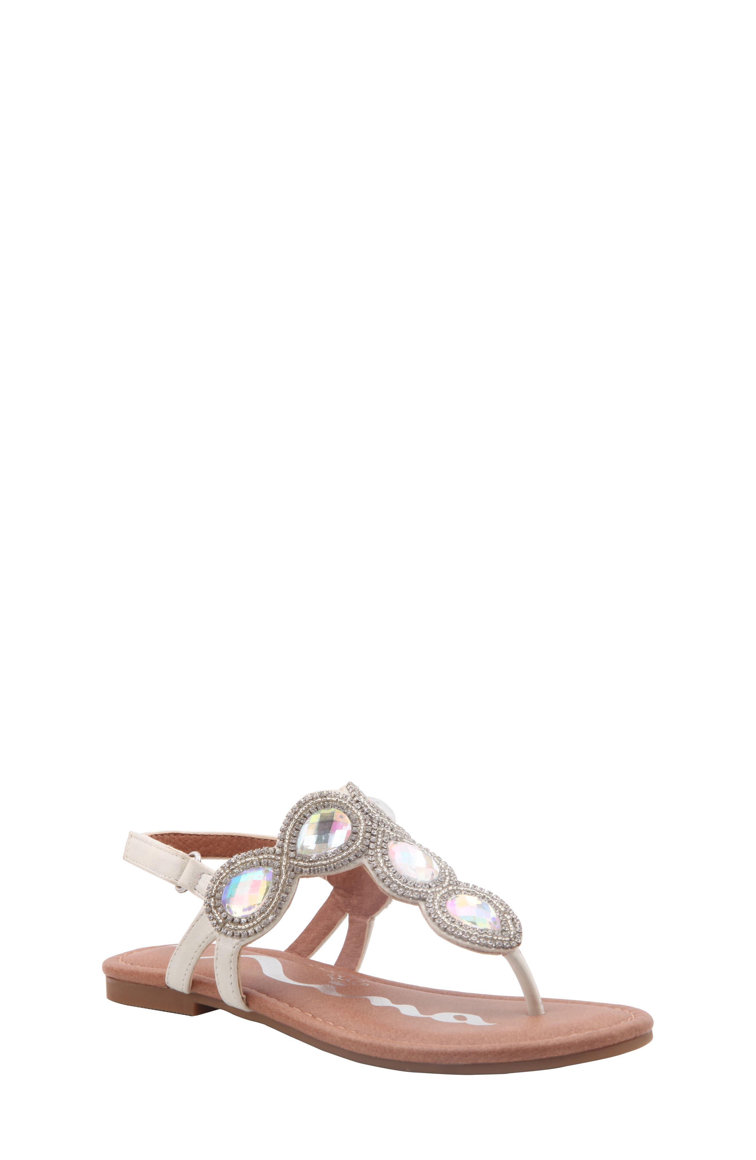 Elicia Embellished T-Strap Sandal,                         Main,                         color, SILVER METALLIC
