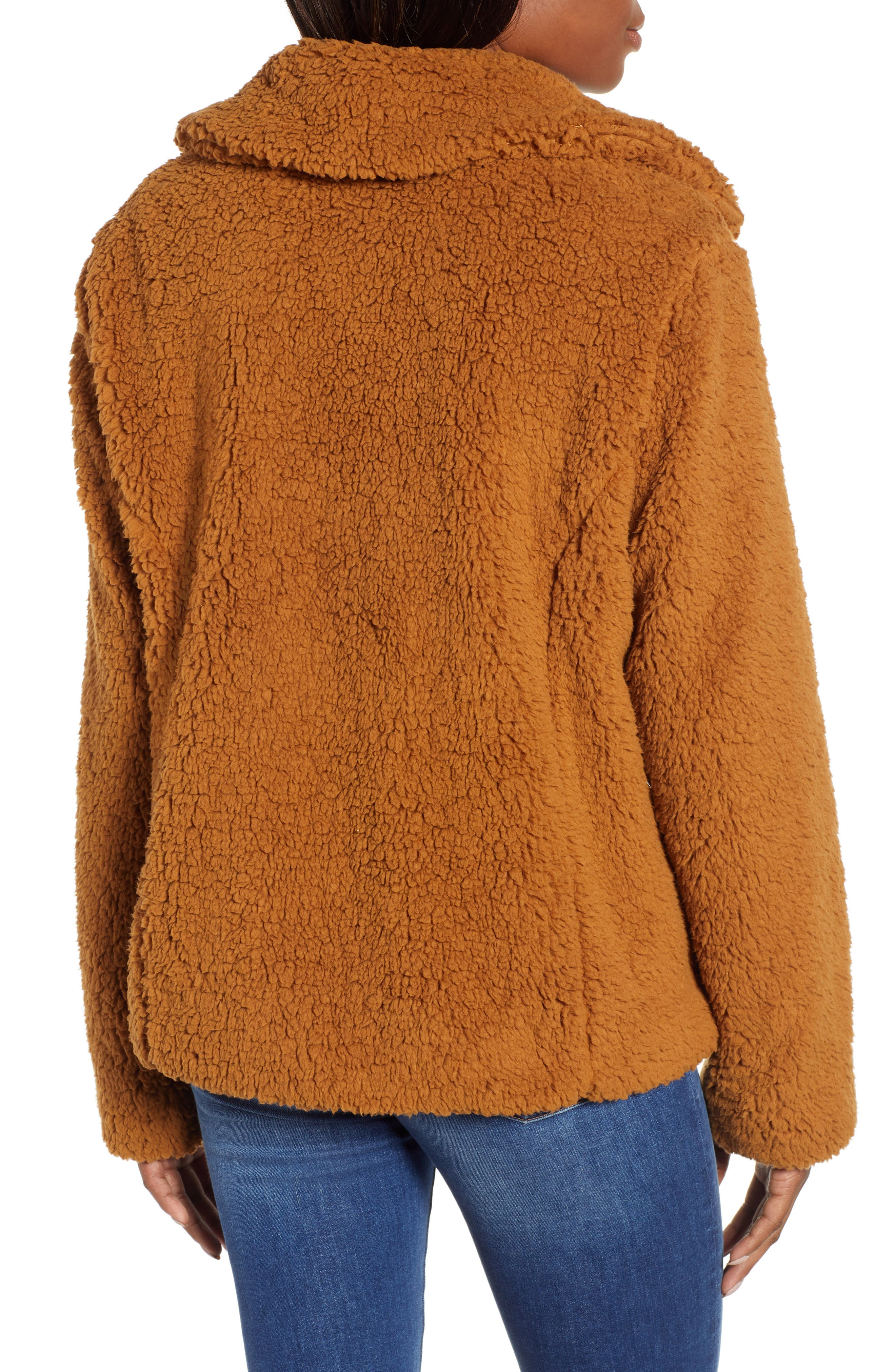 Faux Shearling Jacket,                             Alternate thumbnail 2, color,                             BROWN SADDLE