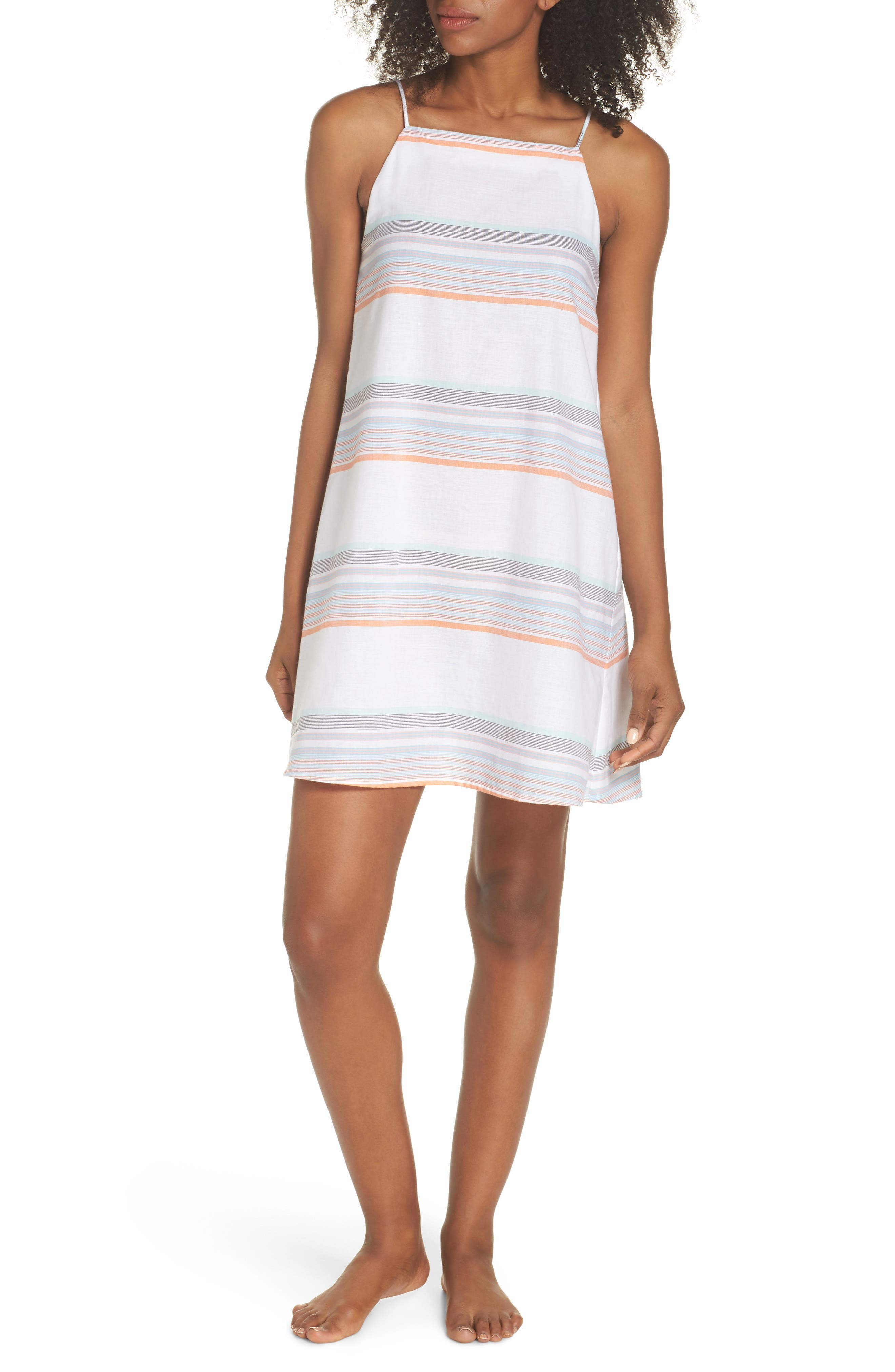 Sunset Stripe Cover-Up Dress,                         Main,                         color, WHITE