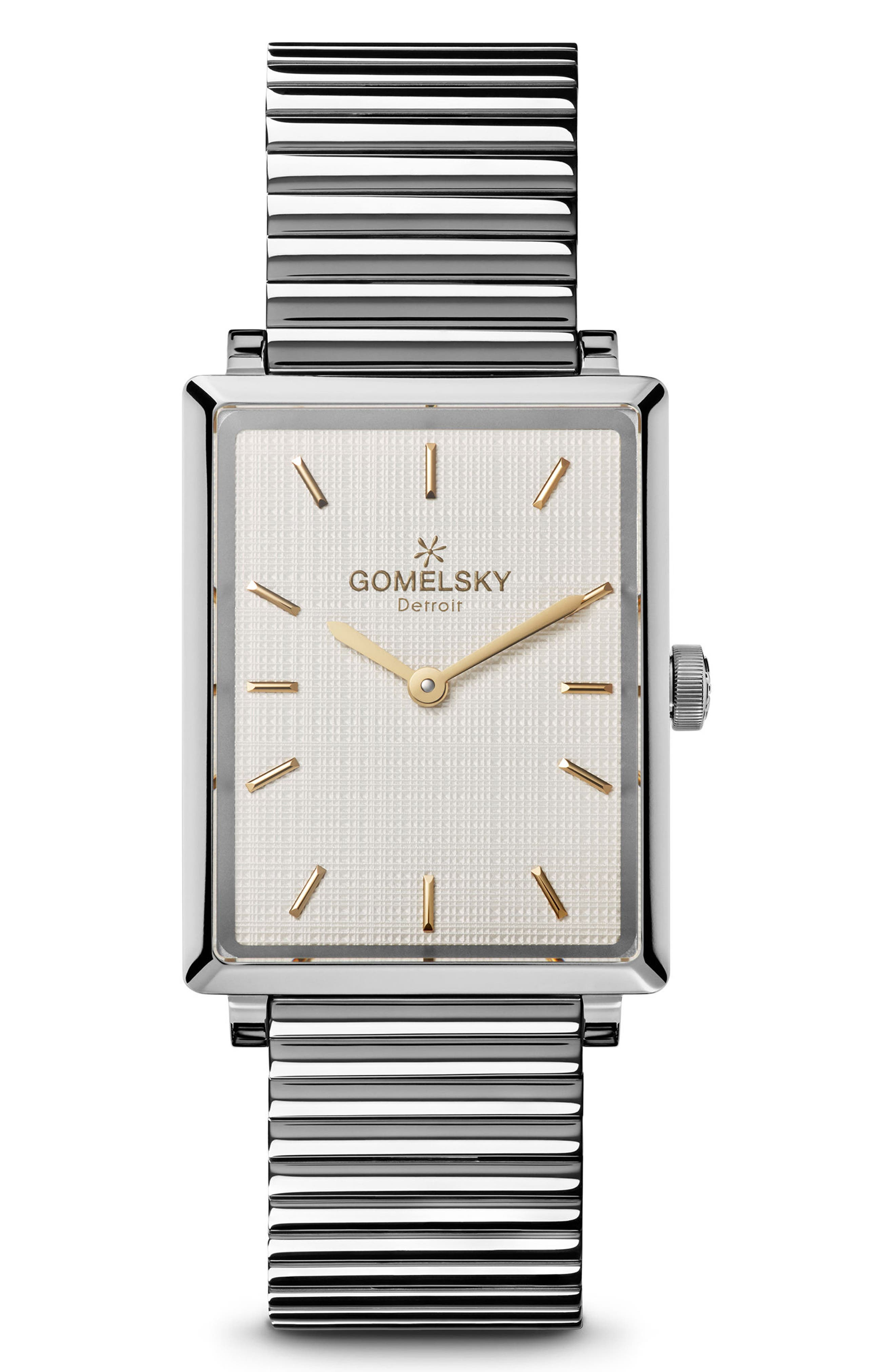 The Shirley Fromer Bracelet Watch, 32mm x 25mm,                             Main thumbnail 1, color,                             SILVER/ BRASS
