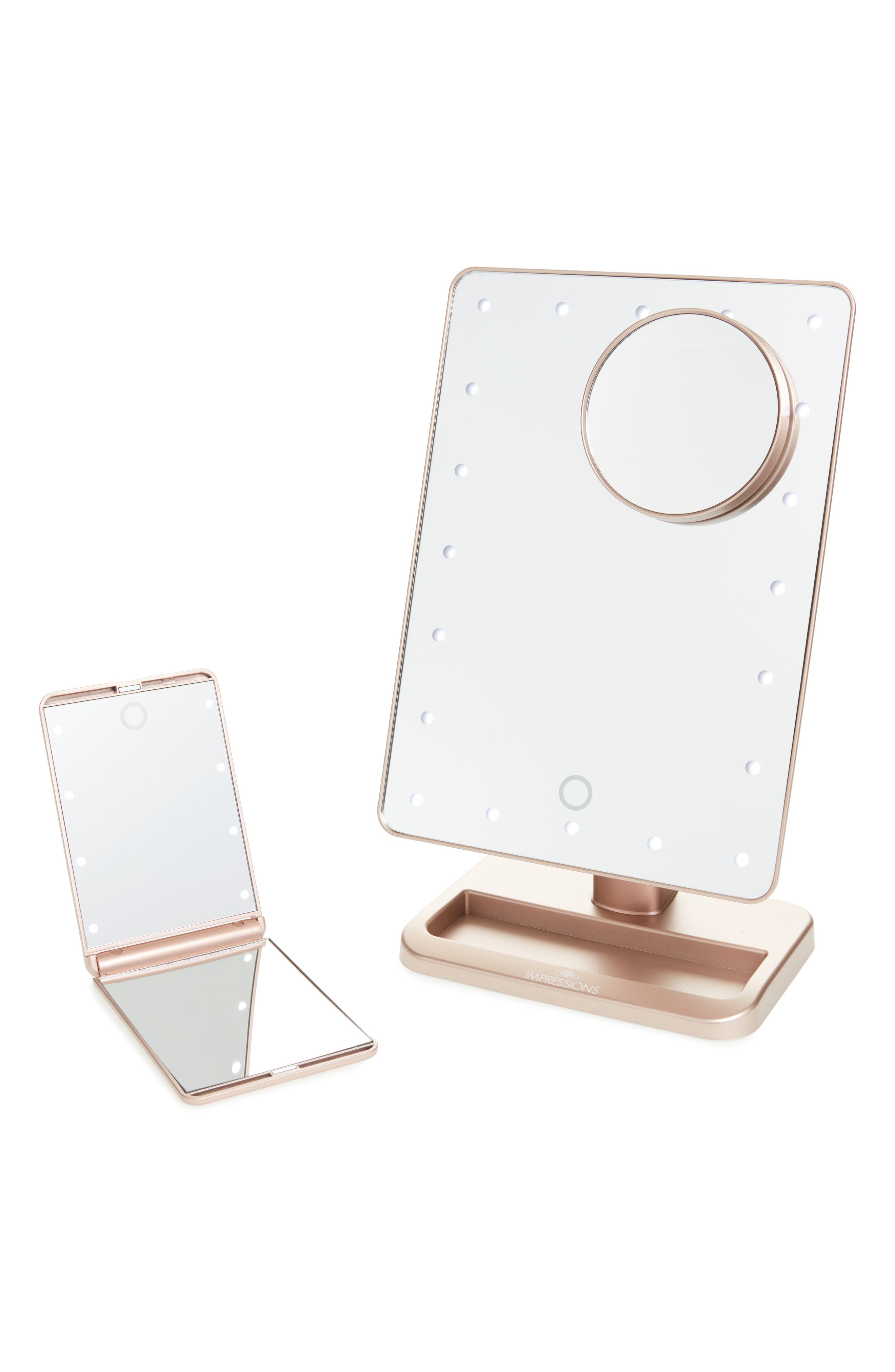 Touch XL Dimmable LED Makeup Mirror with Removable 5x Mirror & Compact Mirror,                         Main,                         color, ROSE GOLD/ ROSE GOLD