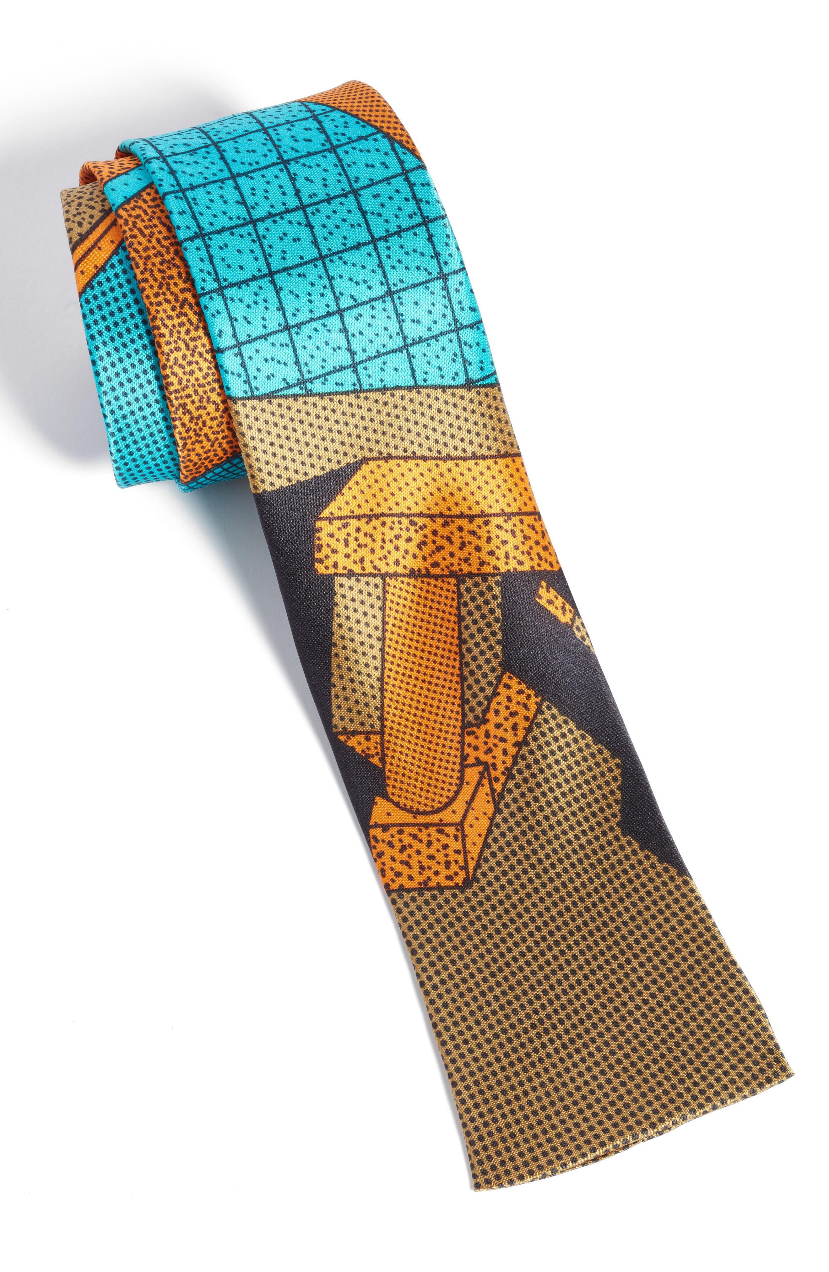 MEMPHIS Milano Teal/Orange Print Silk Tie,                             Alternate thumbnail 3, color,                             440