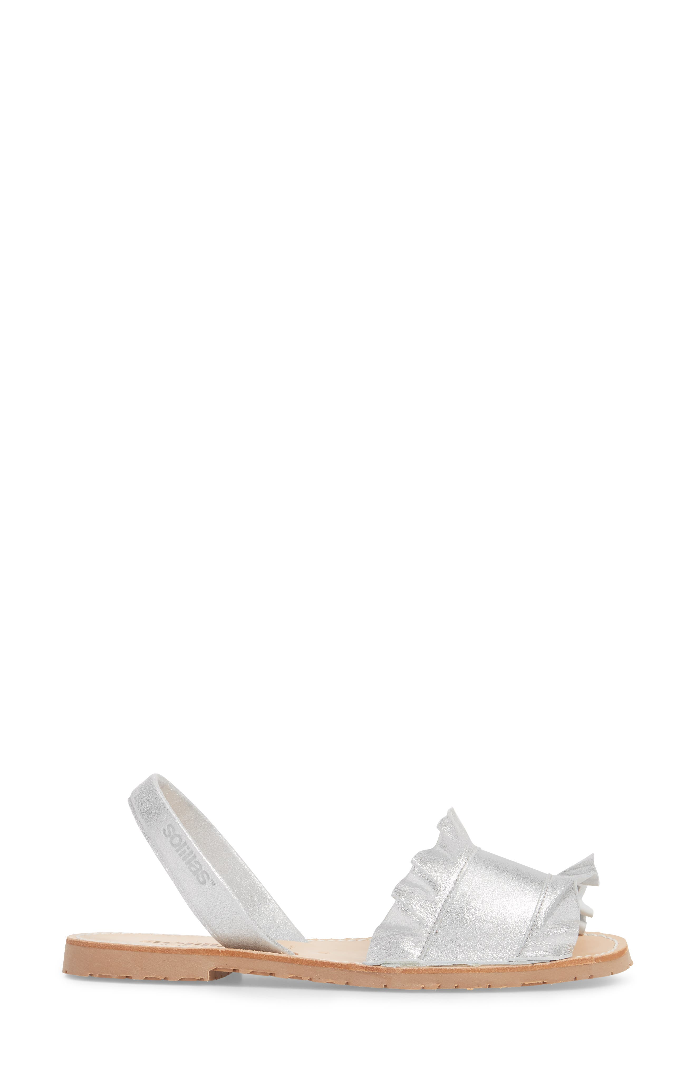Frilled Flat Sandal,                             Alternate thumbnail 3, color,                             040