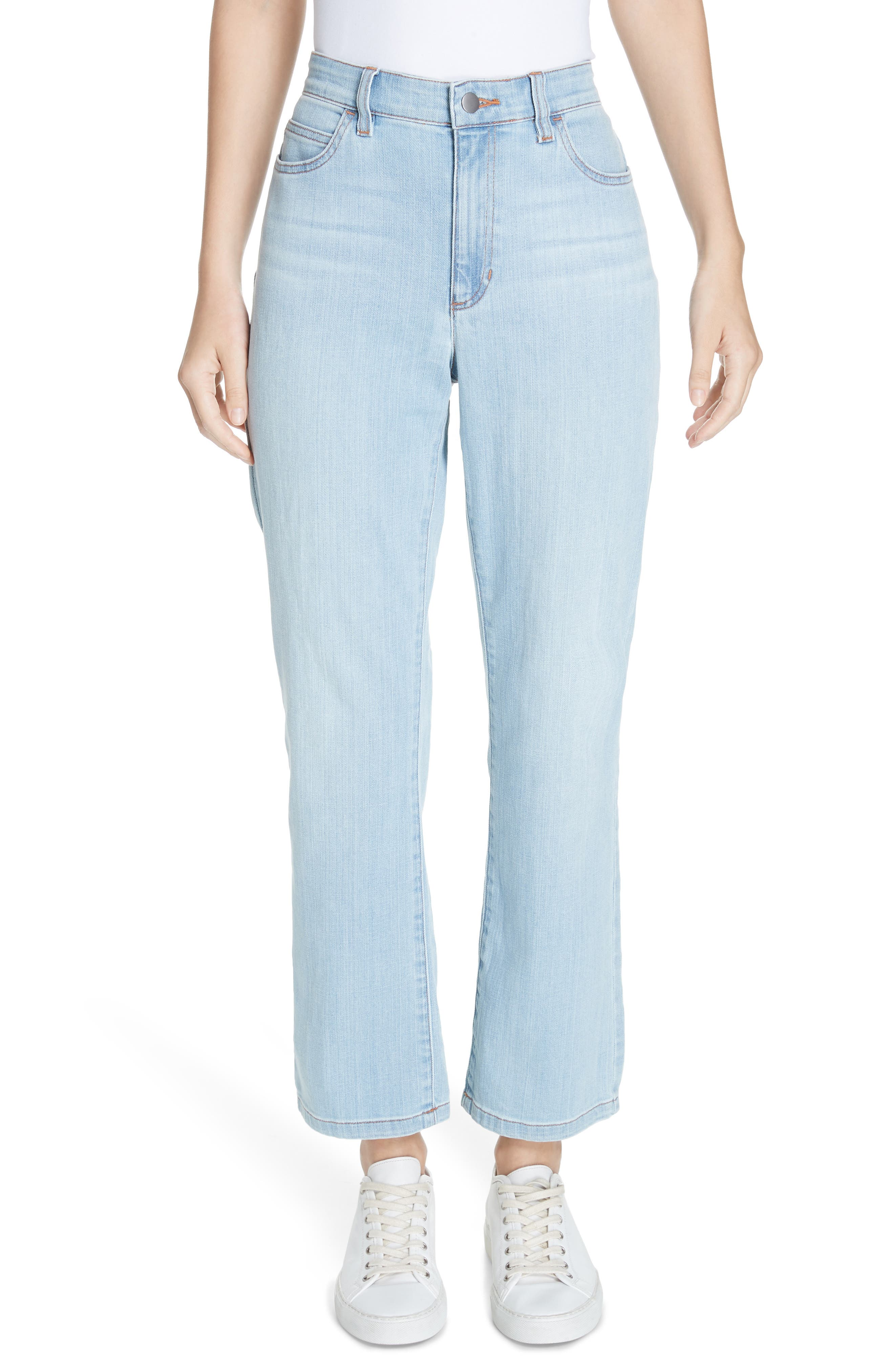 petite women's eileen fisher high waist ankle bootcut jeans, size 4p - blue