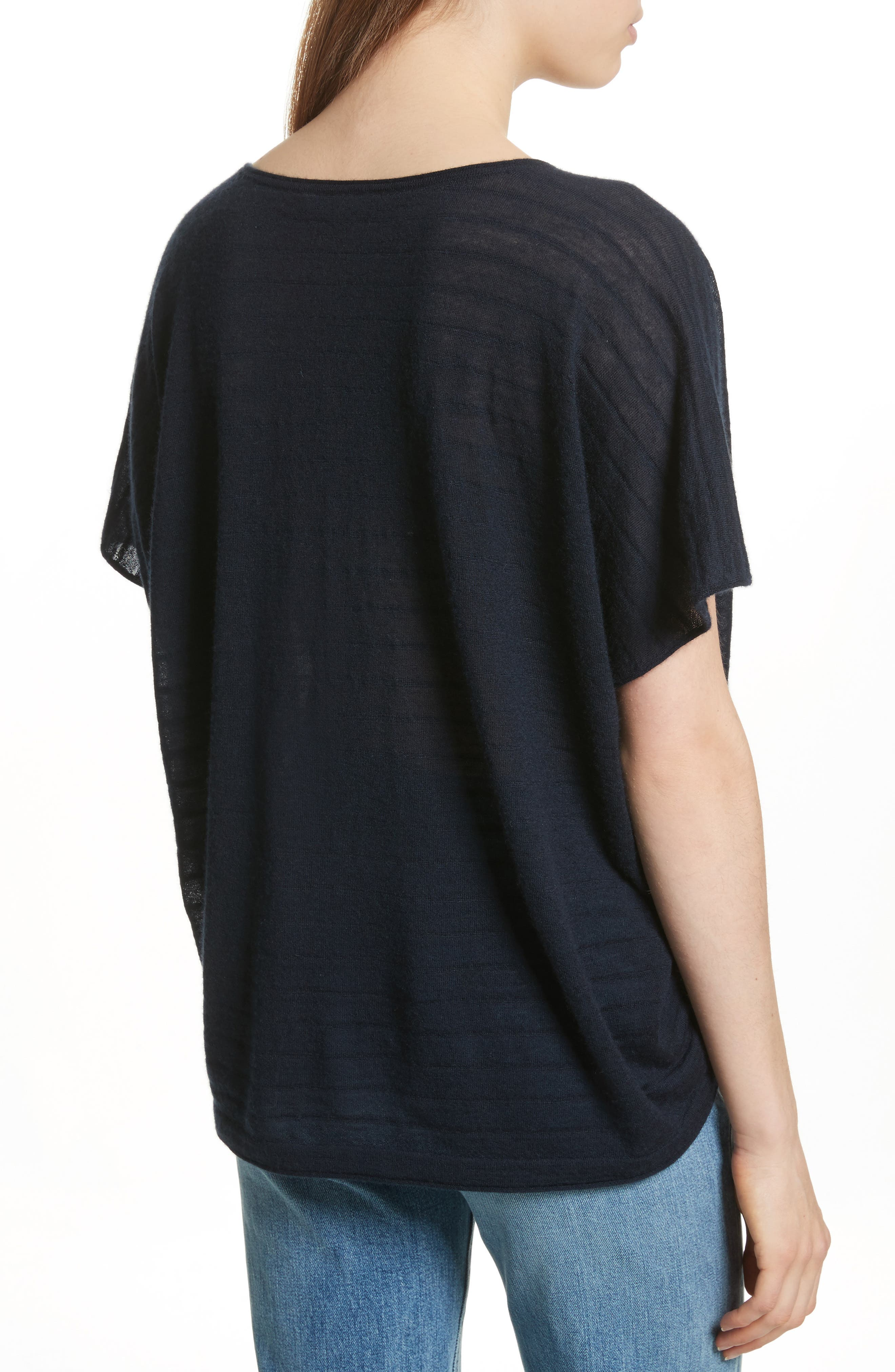 VINCE,                             Textured Stripe Wool & Cashmere Tee,                             Alternate thumbnail 2, color,                             403