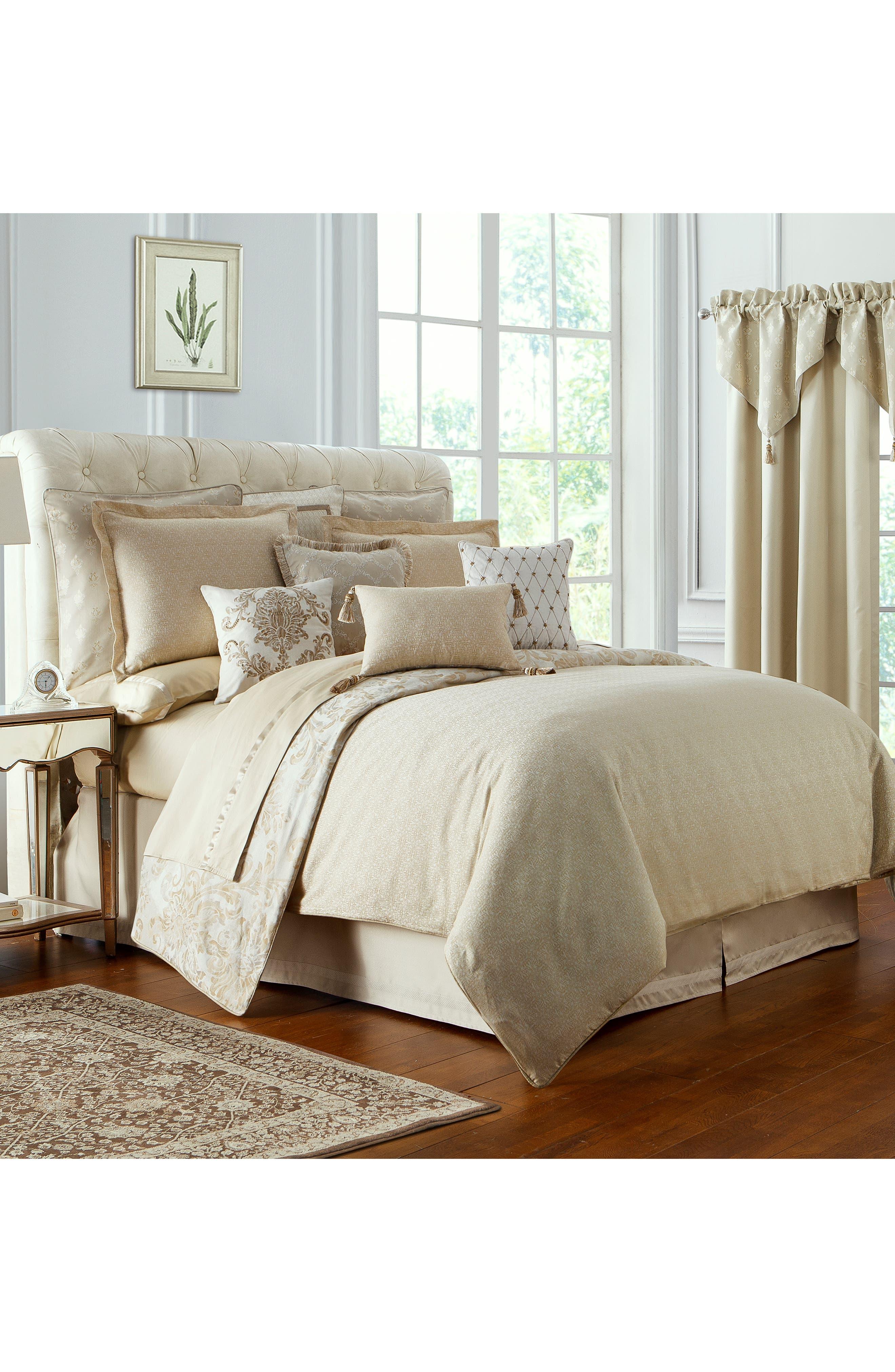 Annalise Reversible Comforter, Sham & Bed Skirt Set,                             Alternate thumbnail 3, color,                             GOLD