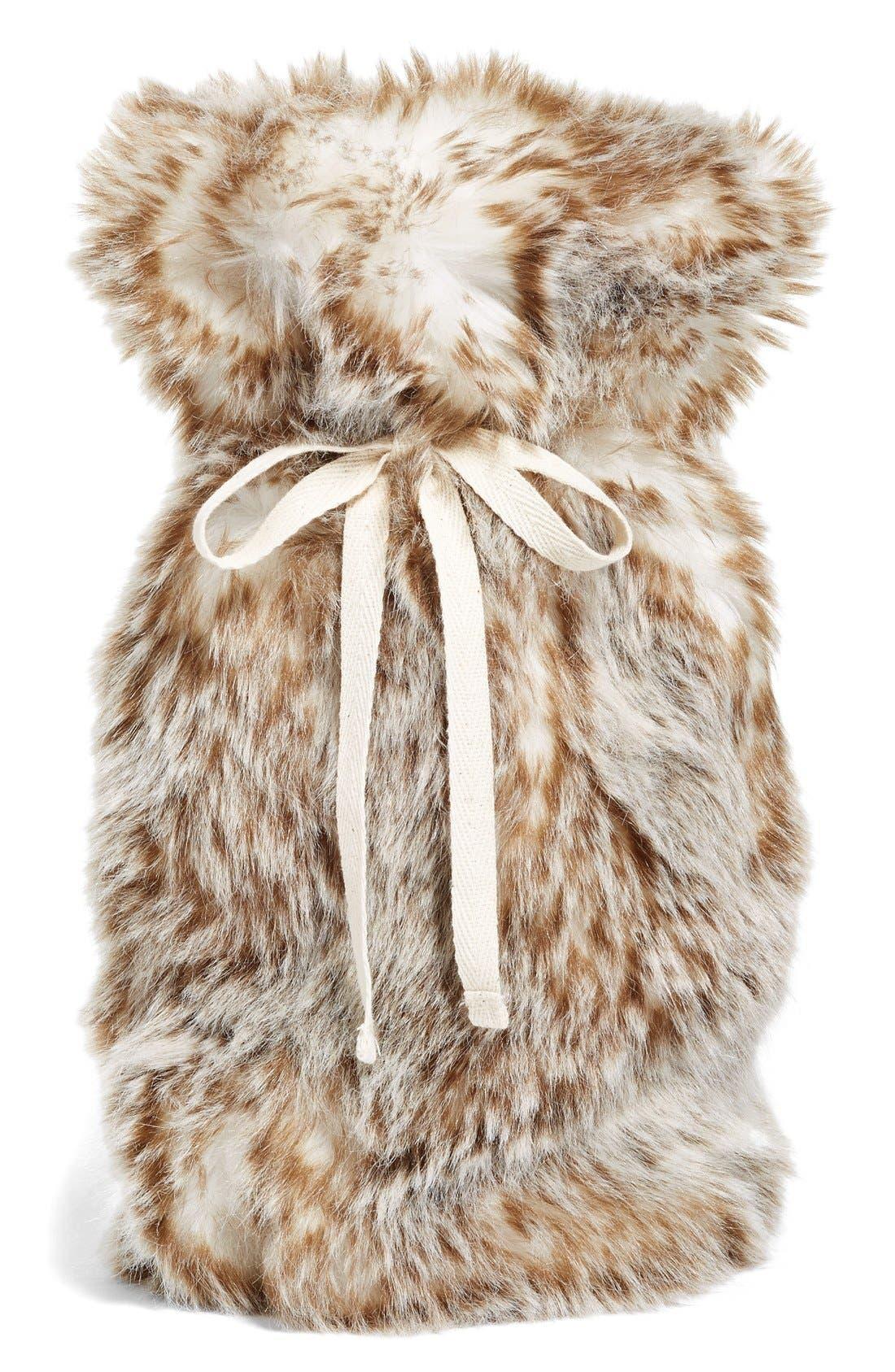 Cuddle Up Faux Fur Wine Bag,                             Main thumbnail 3, color,
