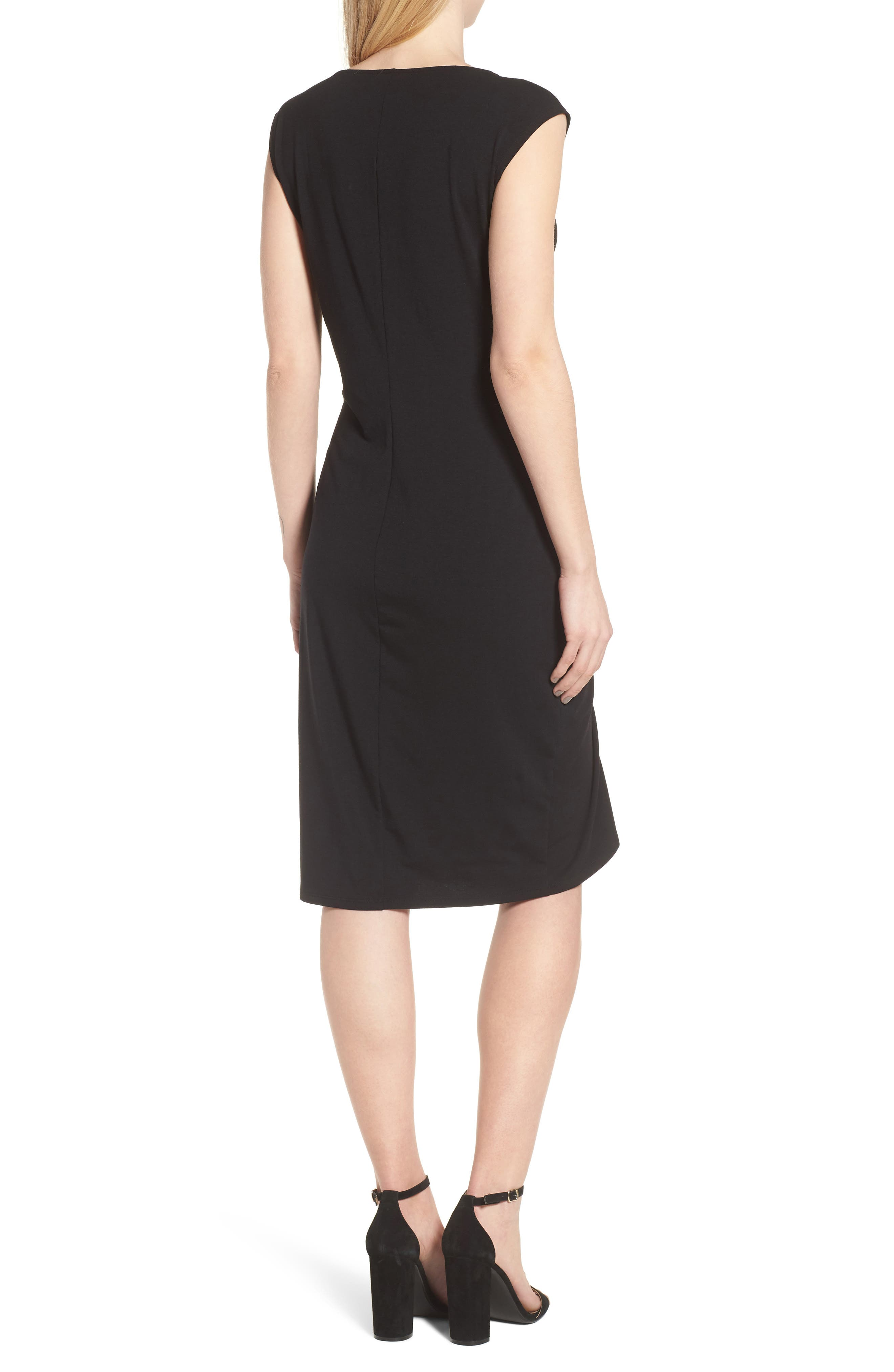 Ruched Knit Dress,                             Alternate thumbnail 2, color,                             001
