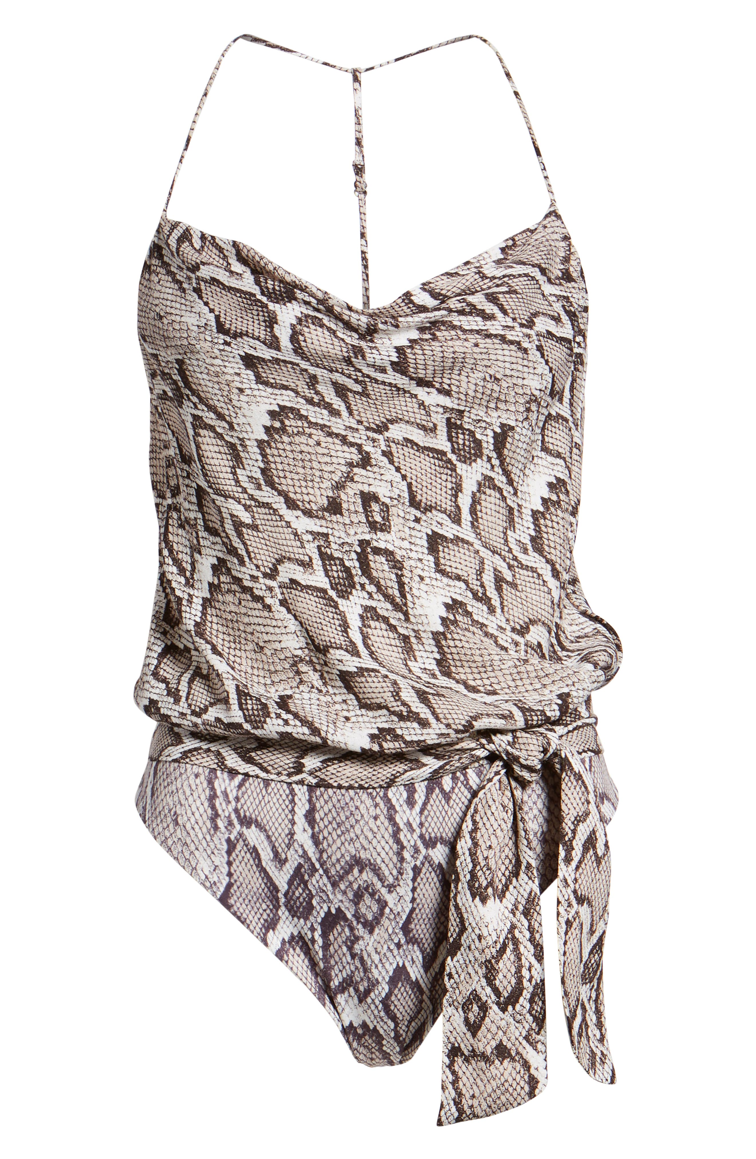 Jazzy Cowl Bodysuit,                             Alternate thumbnail 6, color,                             SNAKESKIN