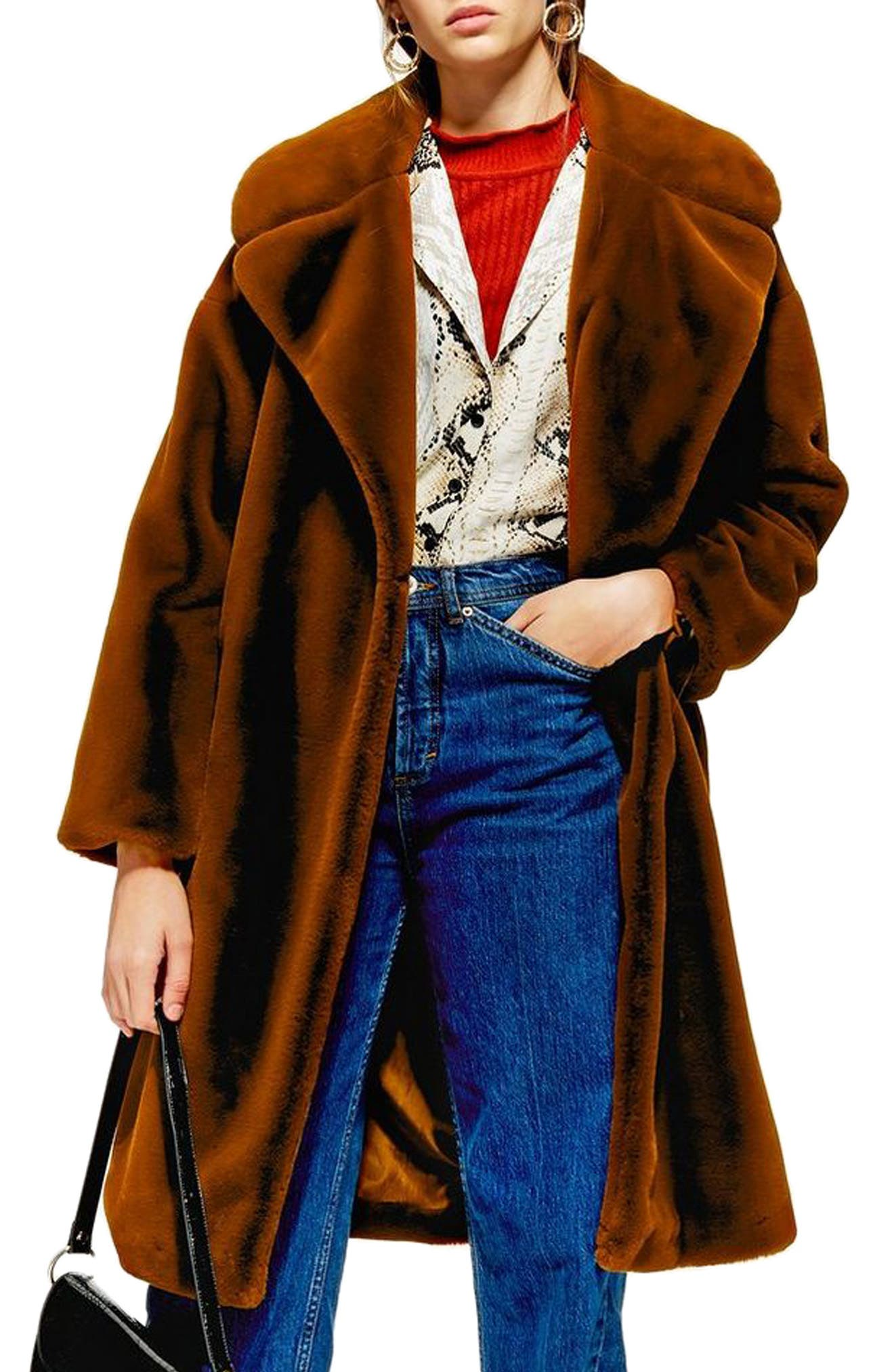 Bella Velvet Faux Fur Coat,                         Main,                         color, BROWN