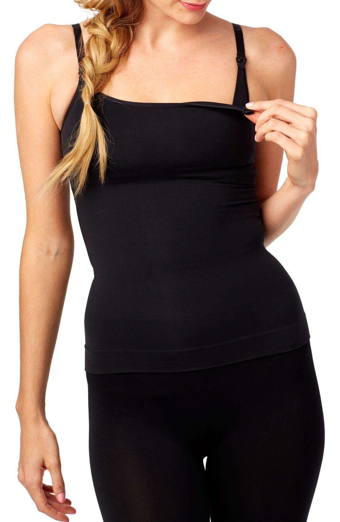 Tummy Control Nursing Camisole,                         Main,                         color, BLACK