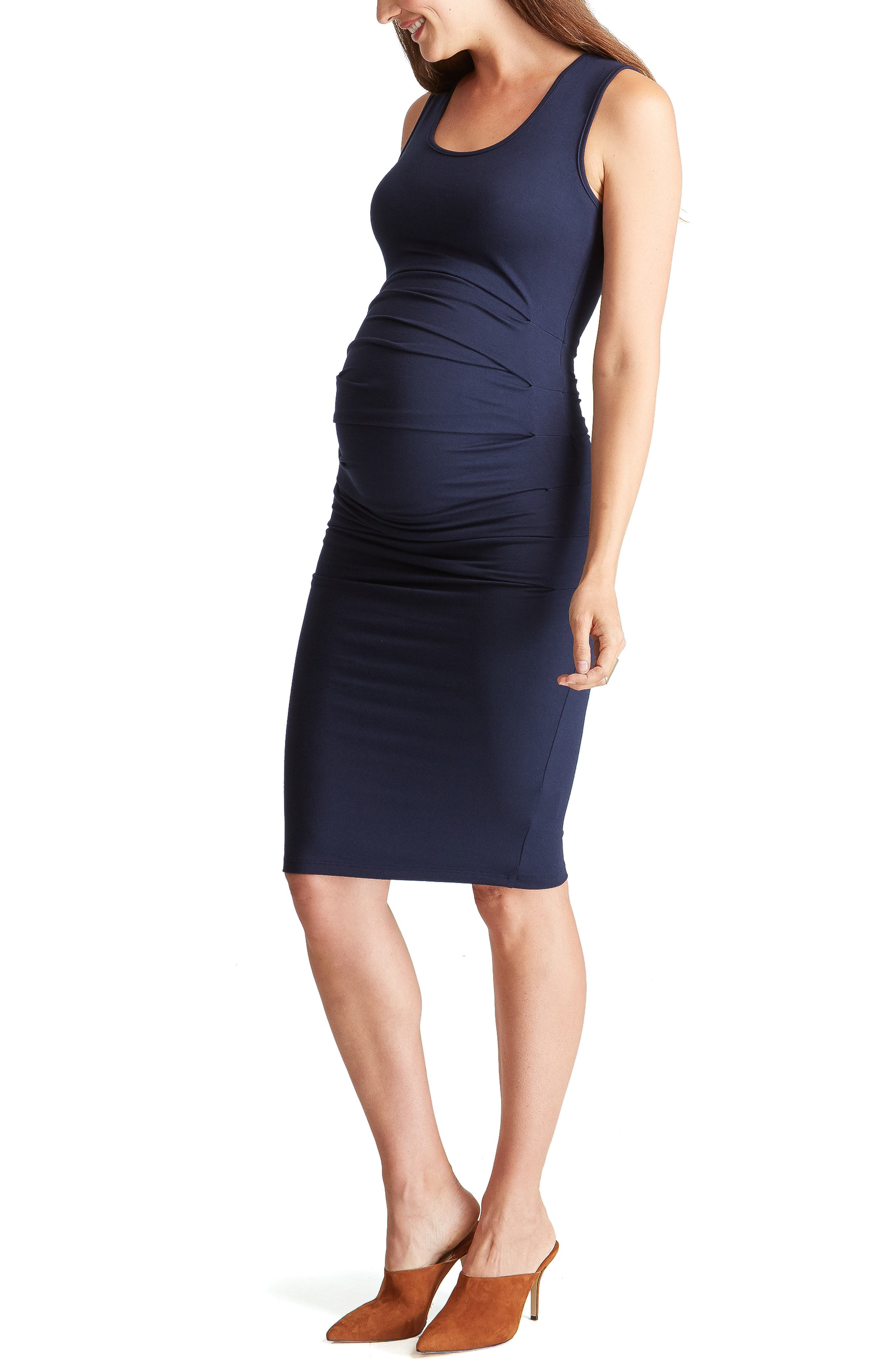 INGRID & ISABEL<SUP>®</SUP>,                             Ruched Maternity Tank Dress,                             Alternate thumbnail 3, color,                             TRUE NAVY