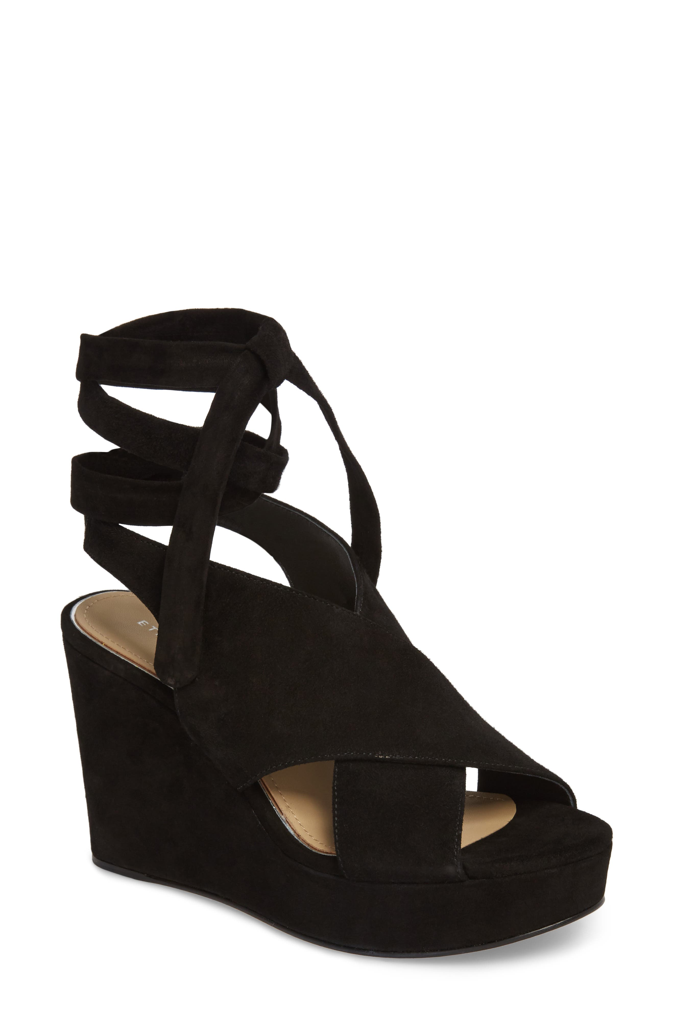 Dominica Platform Wedge Sandal,                         Main,                         color, BLACK SUEDE