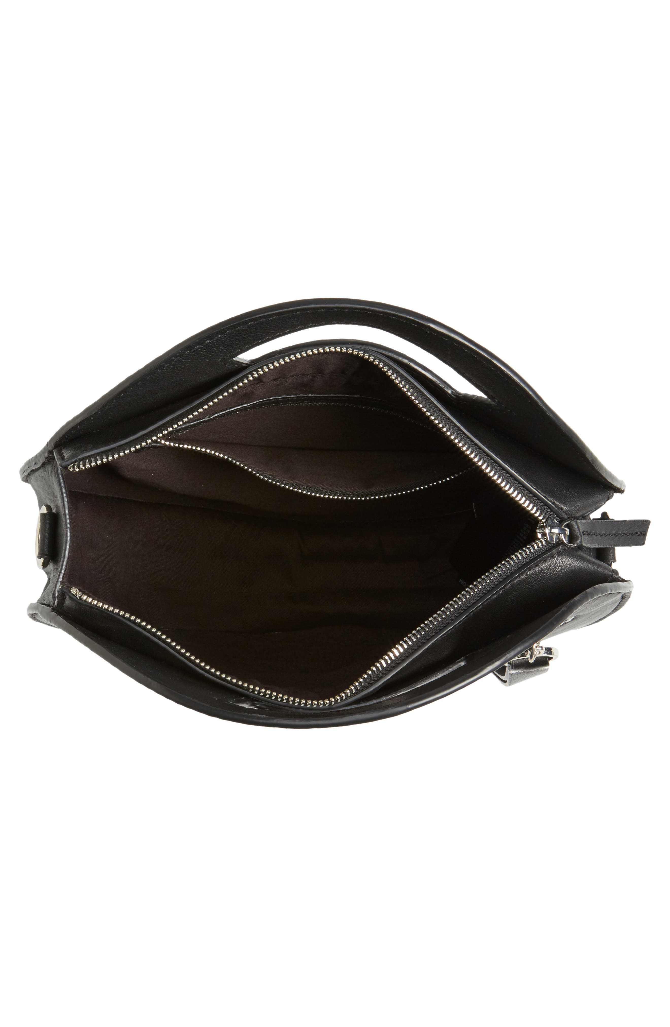 Premium Leather Circle Crossbody Bag,                             Alternate thumbnail 4, color,                             001