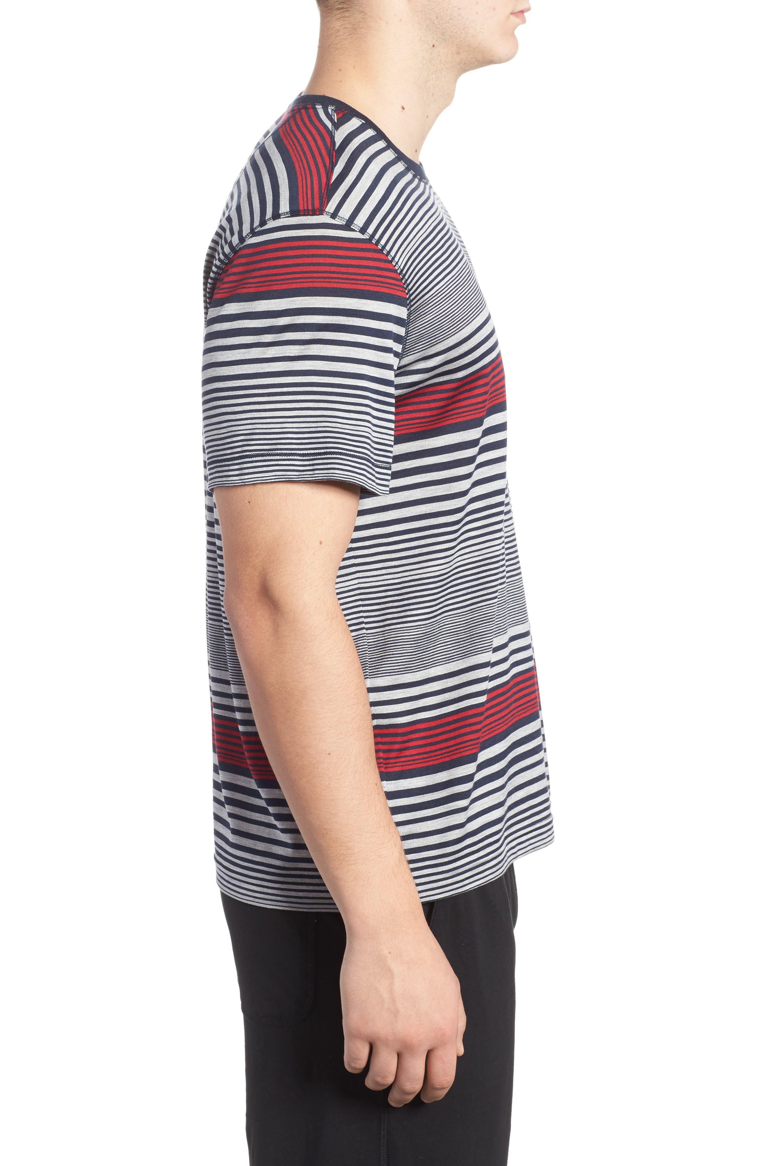 Stripe Silk & Cotton T-Shirt,                             Alternate thumbnail 3, color,                             400