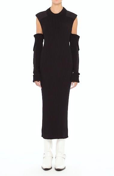 Rib Knit Cold Shoulder Dress, video thumbnail