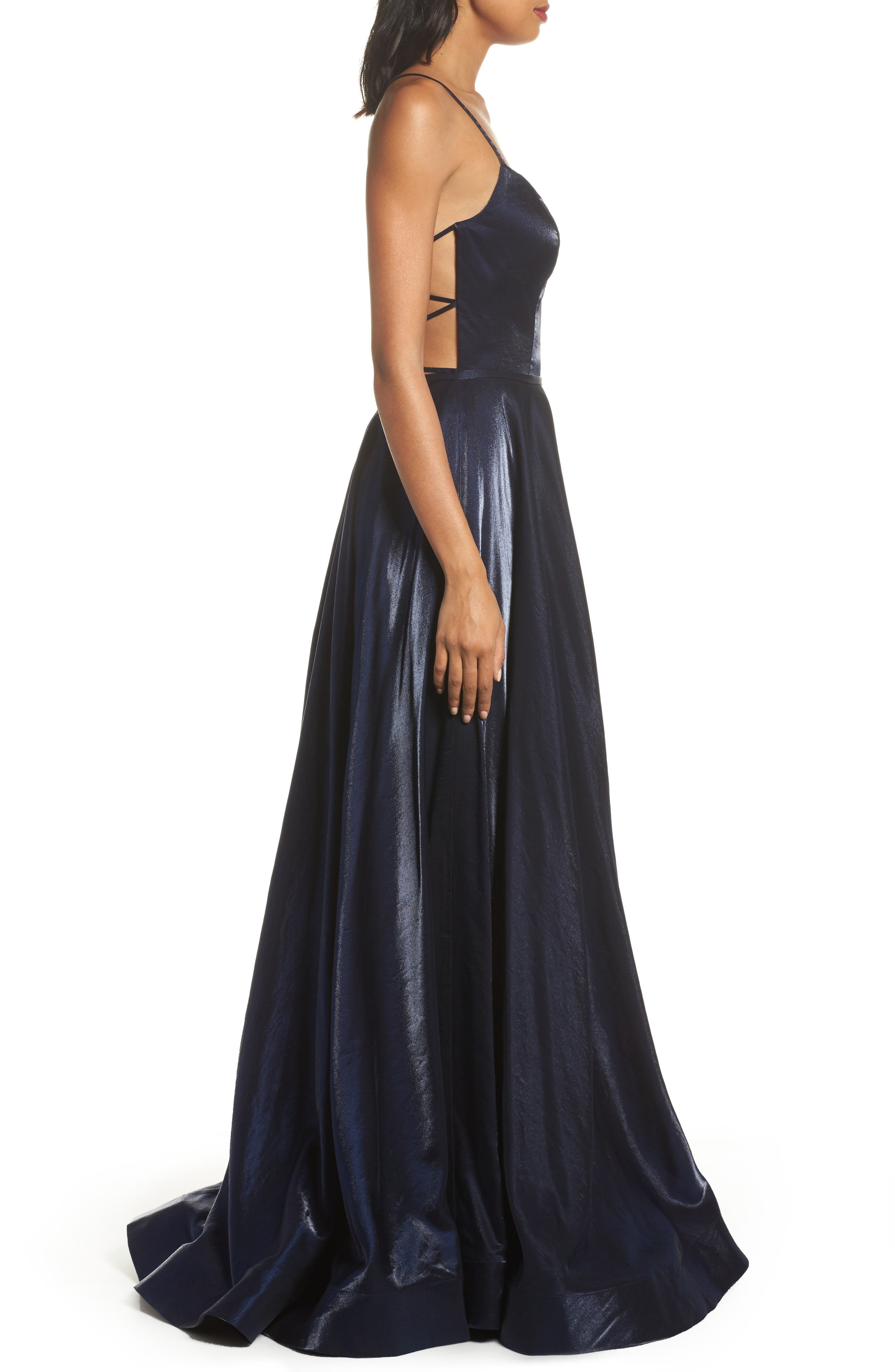 Plunging Satin A-Line Gown,                             Alternate thumbnail 3, color,                             410
