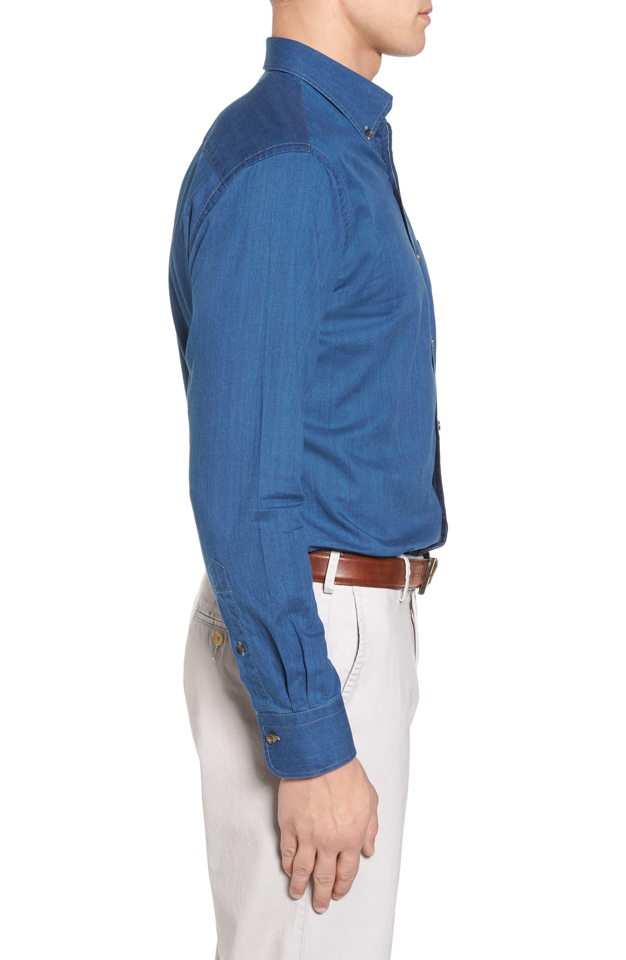 Crown Vintage Regular Fit Denim Sport Shirt,                             Alternate thumbnail 3, color,                             405