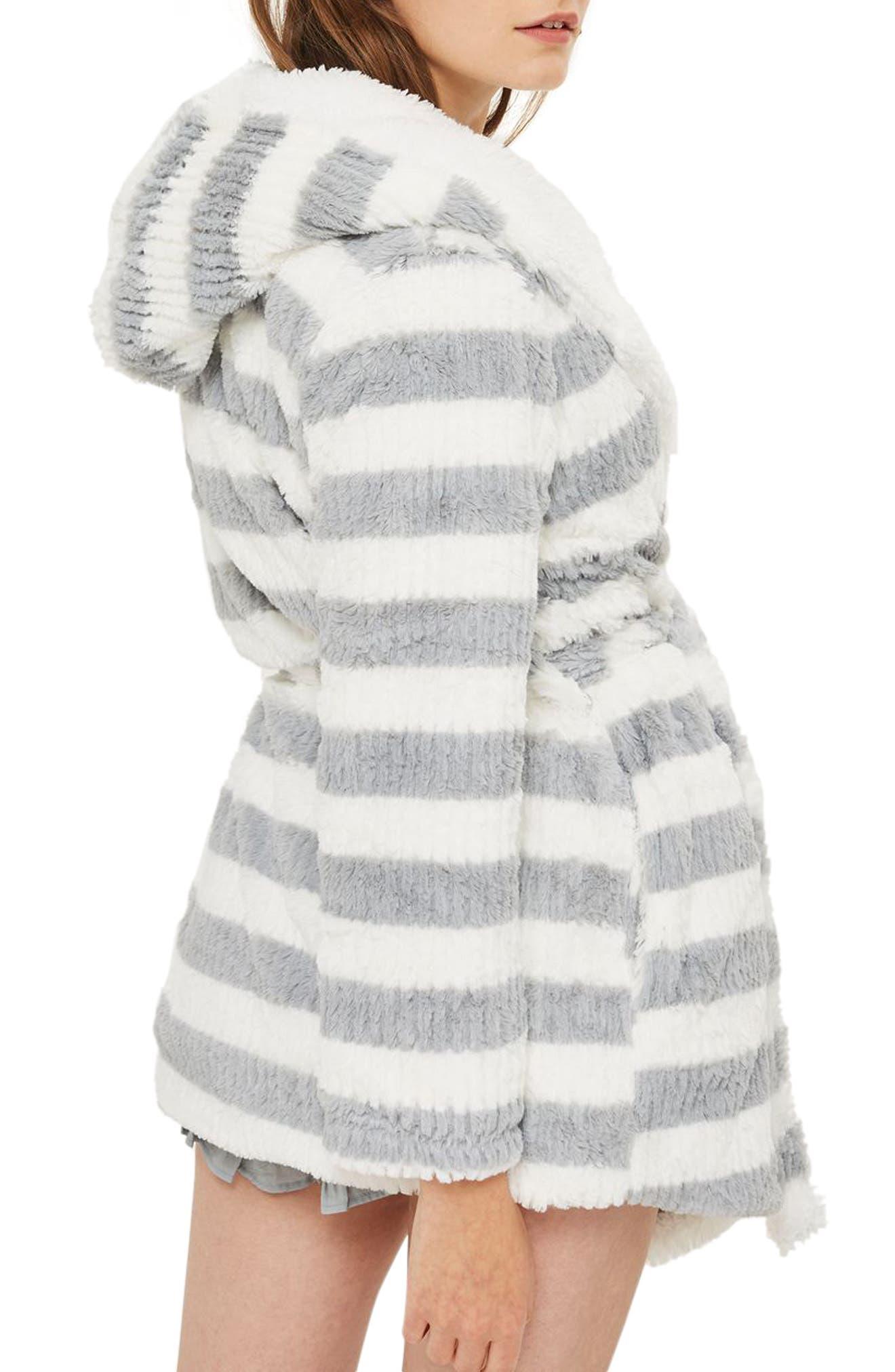 Stripe Short Robe,                             Alternate thumbnail 3, color,                             020