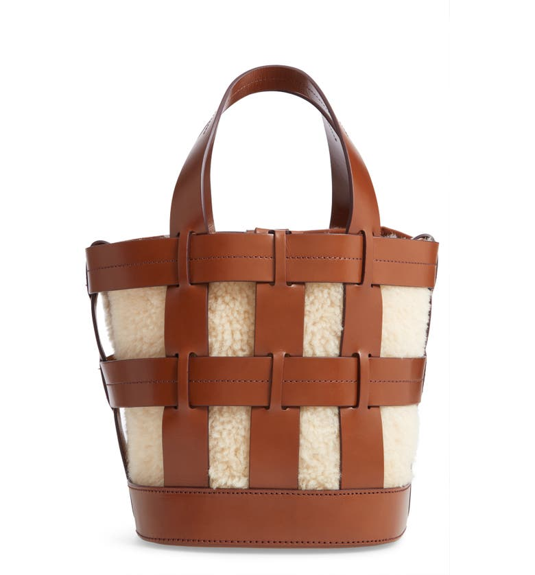 Trademark COOPER CAGE LEATHER & GENUINE SHEARLING TOTE - BROWN