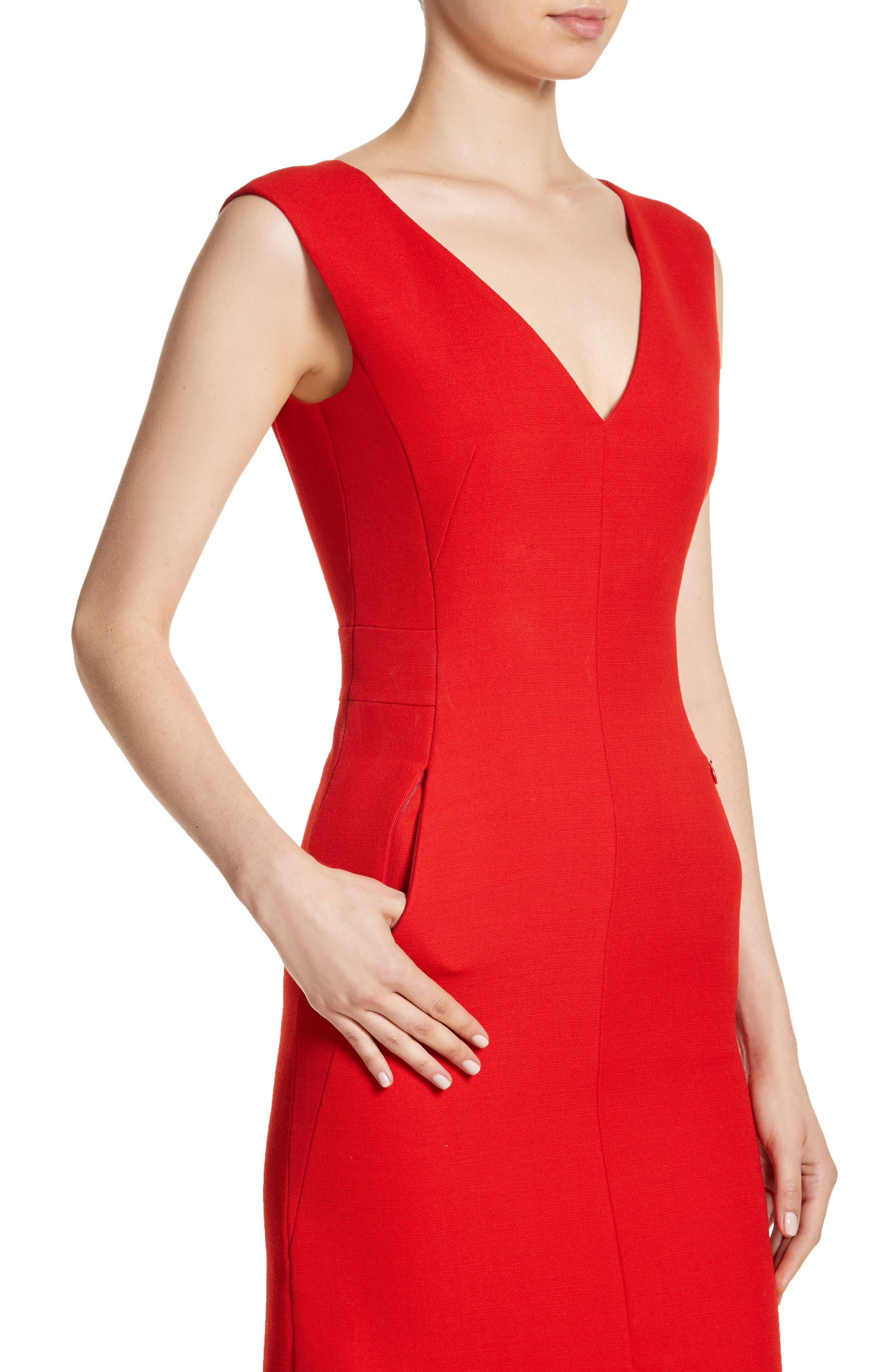 Double Face Wool & Silk Dress,                             Alternate thumbnail 4, color,                             600