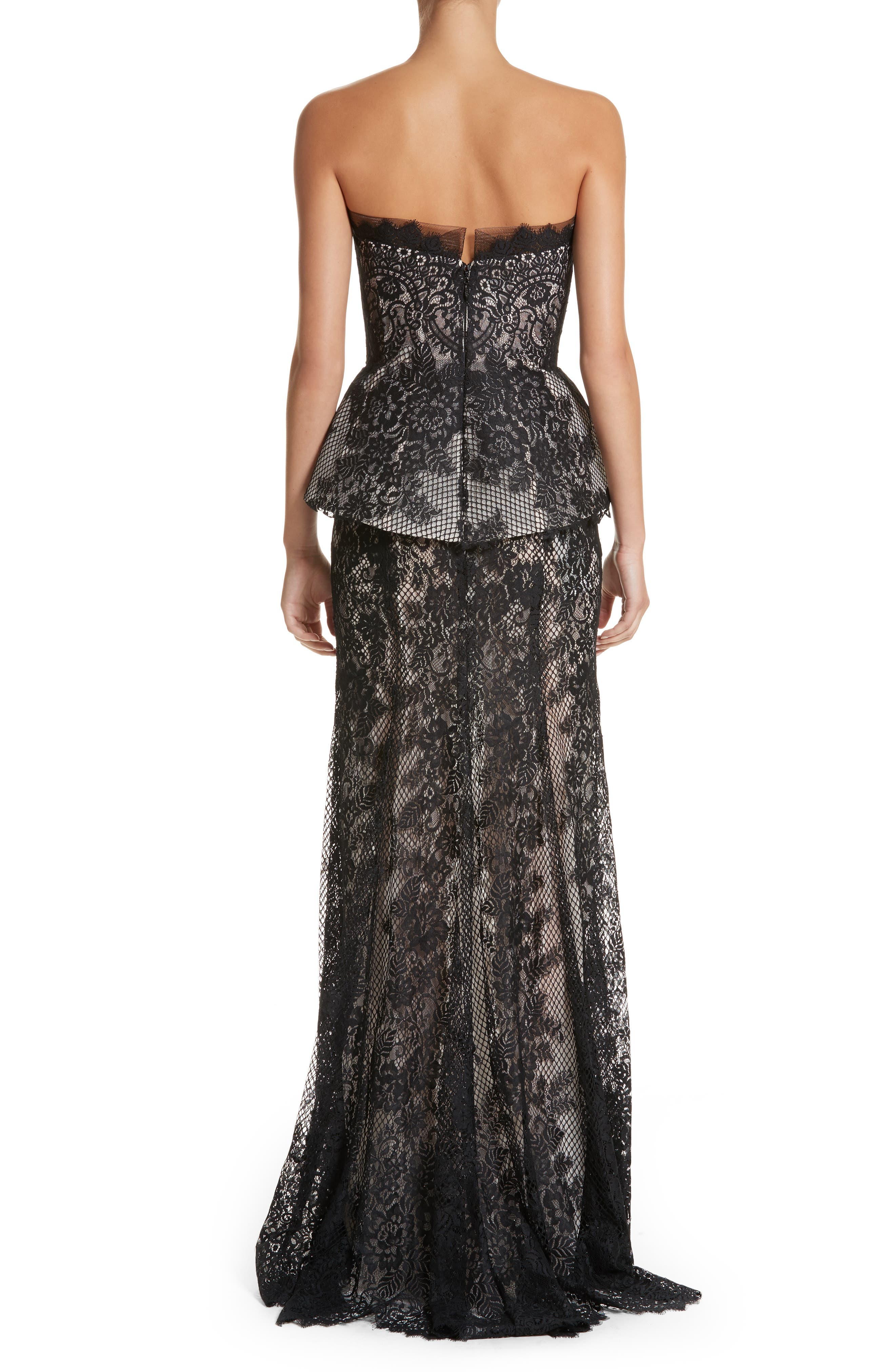 Strapless Peplum Lace Gown,                             Alternate thumbnail 2, color,