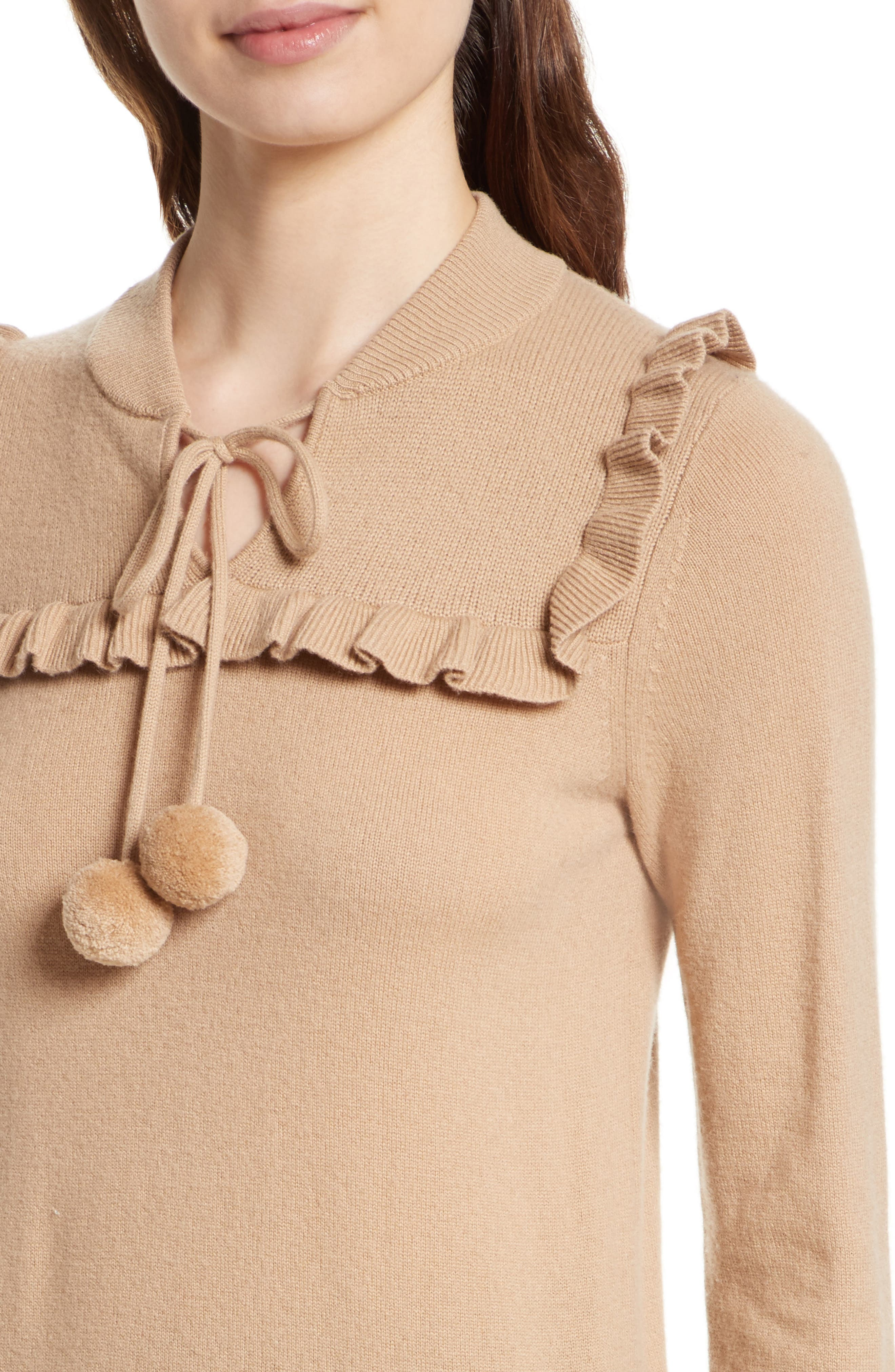 pompom wool & cashmere sweater,                             Alternate thumbnail 4, color,                             258