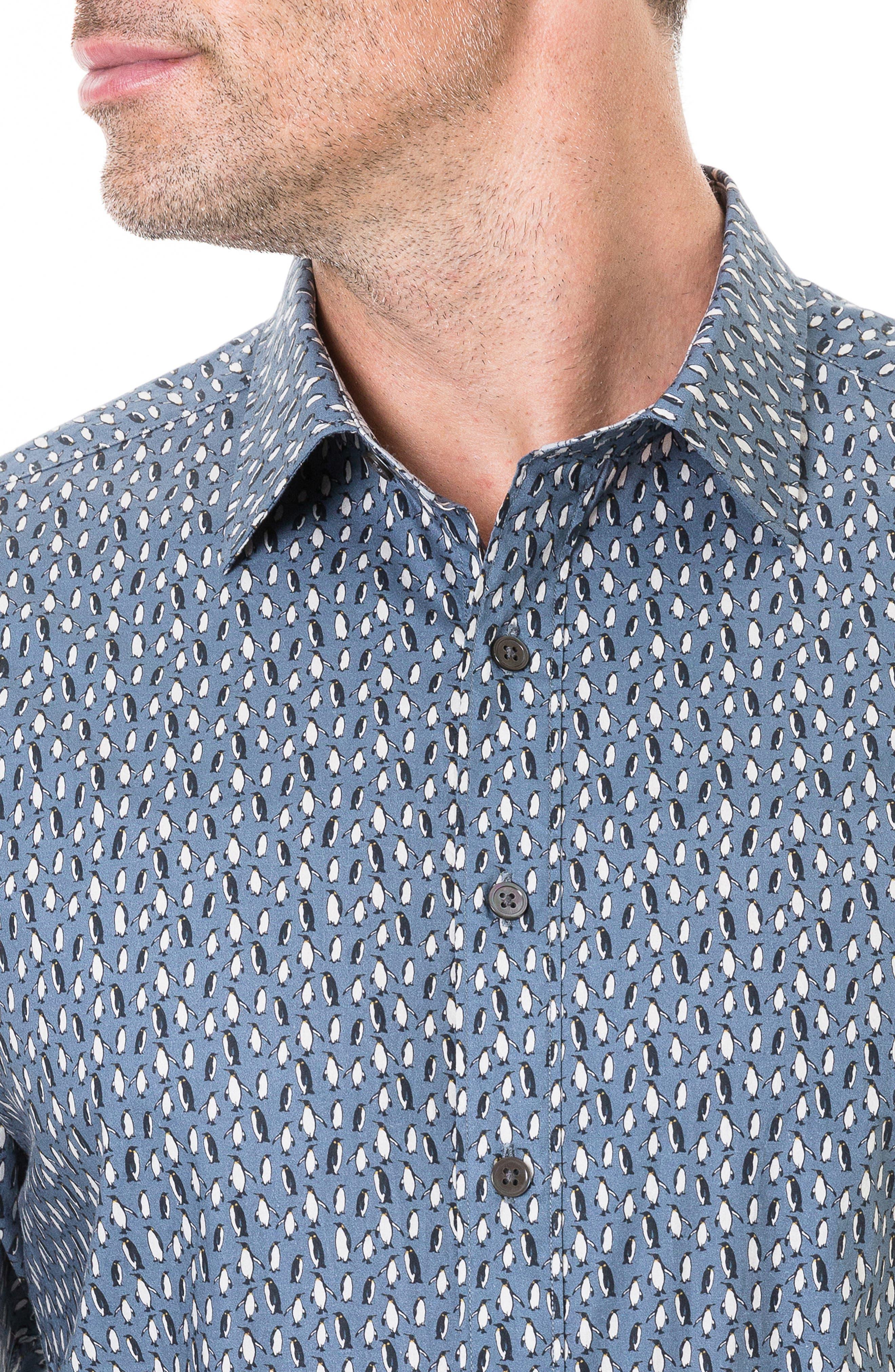 Chappel West Regular Fit Penguin Print Sport Shirt,                             Alternate thumbnail 2, color,                             BLUE GRAPHITE