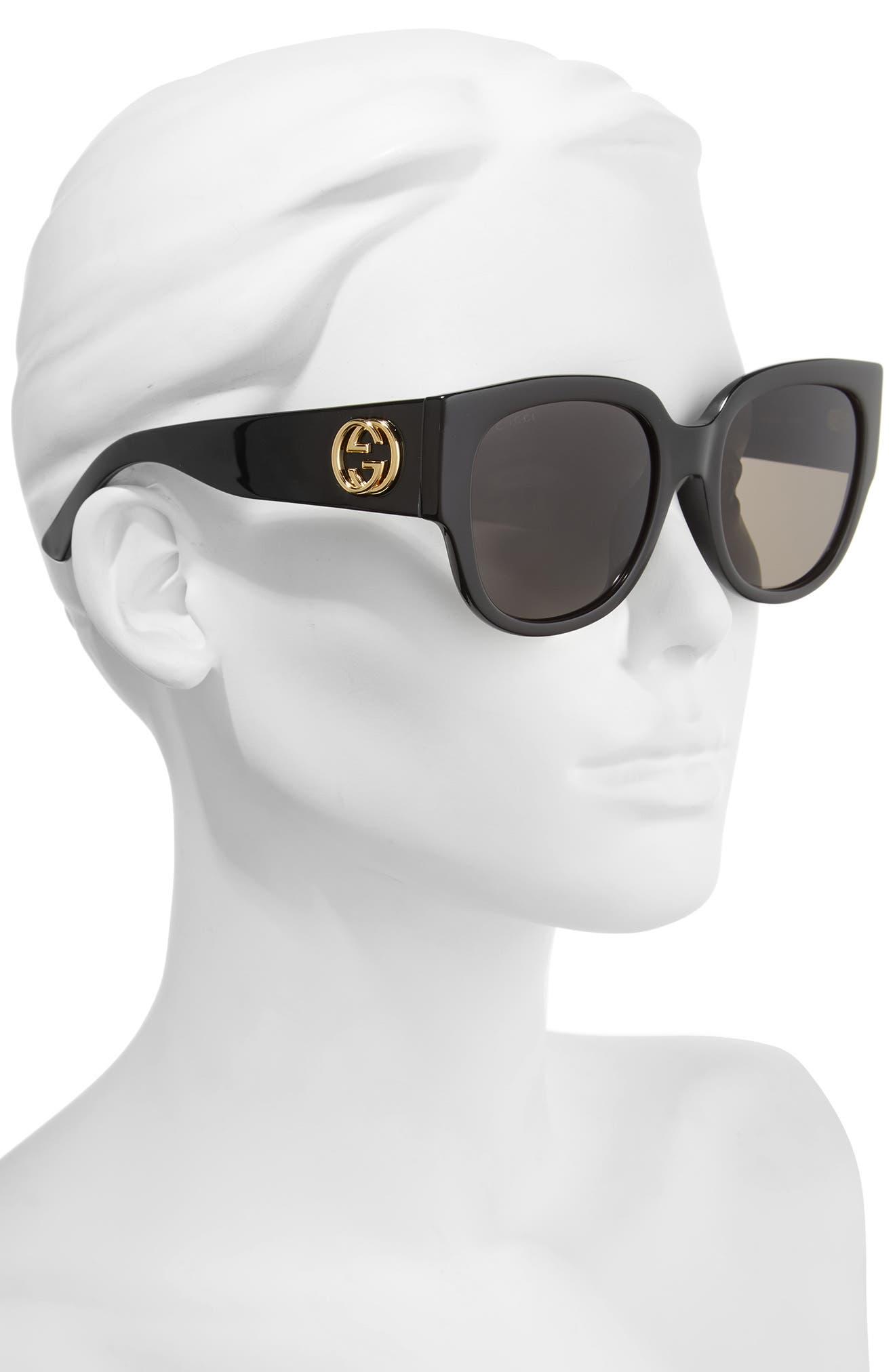 55mm Square Cat Eye Sunglasses,                             Alternate thumbnail 2, color,                             BLACK/ GREY