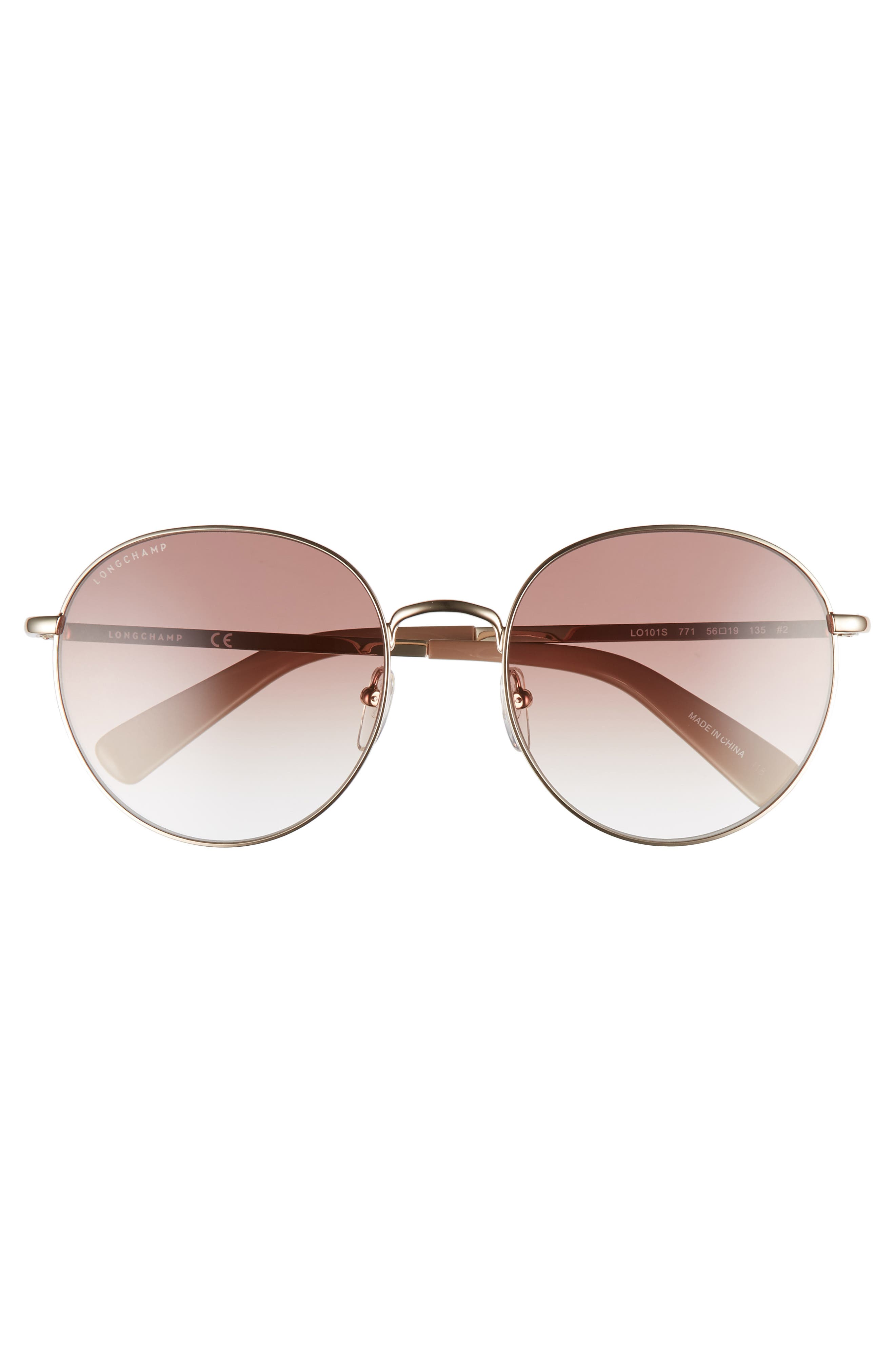 56mm Round Sunglasses,                             Alternate thumbnail 3, color,                             ROSE GOLD/ NUDE