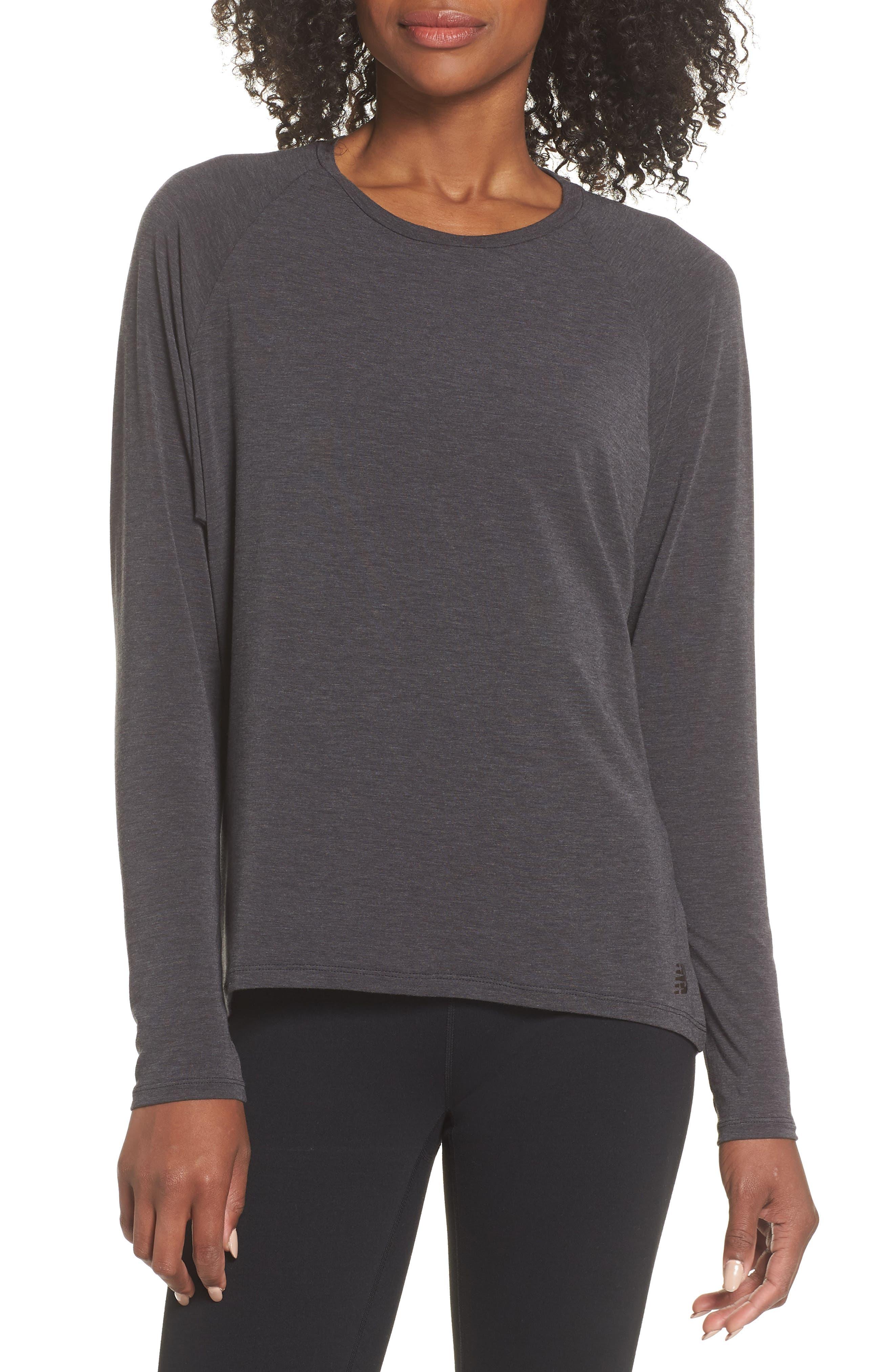 NEW BALANCE,                             Release Open Back Long Sleeve Sweatshirt,                             Main thumbnail 1, color,                             008