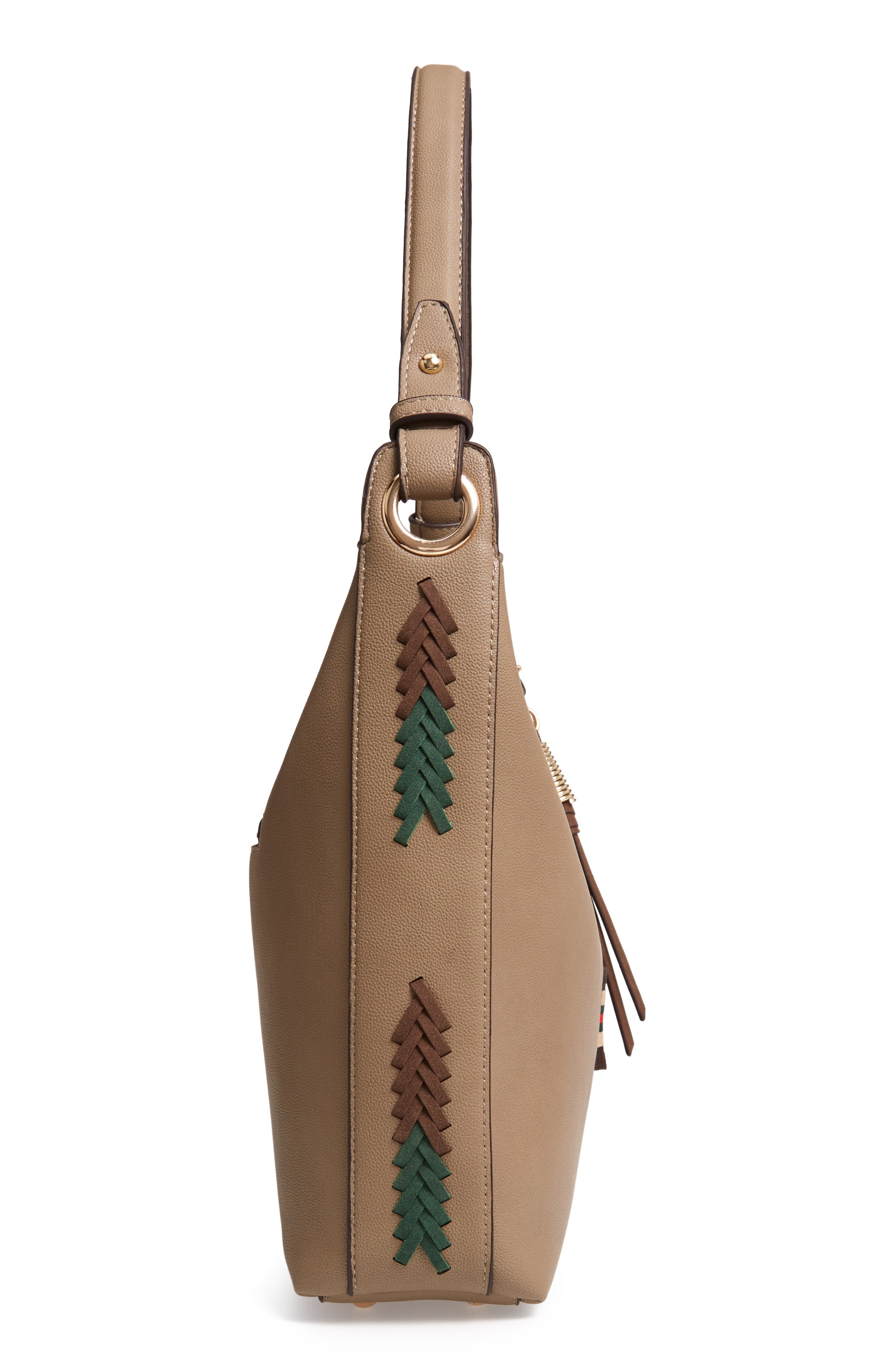 Faux Leather Hobo,                             Alternate thumbnail 5, color,                             TAUPE