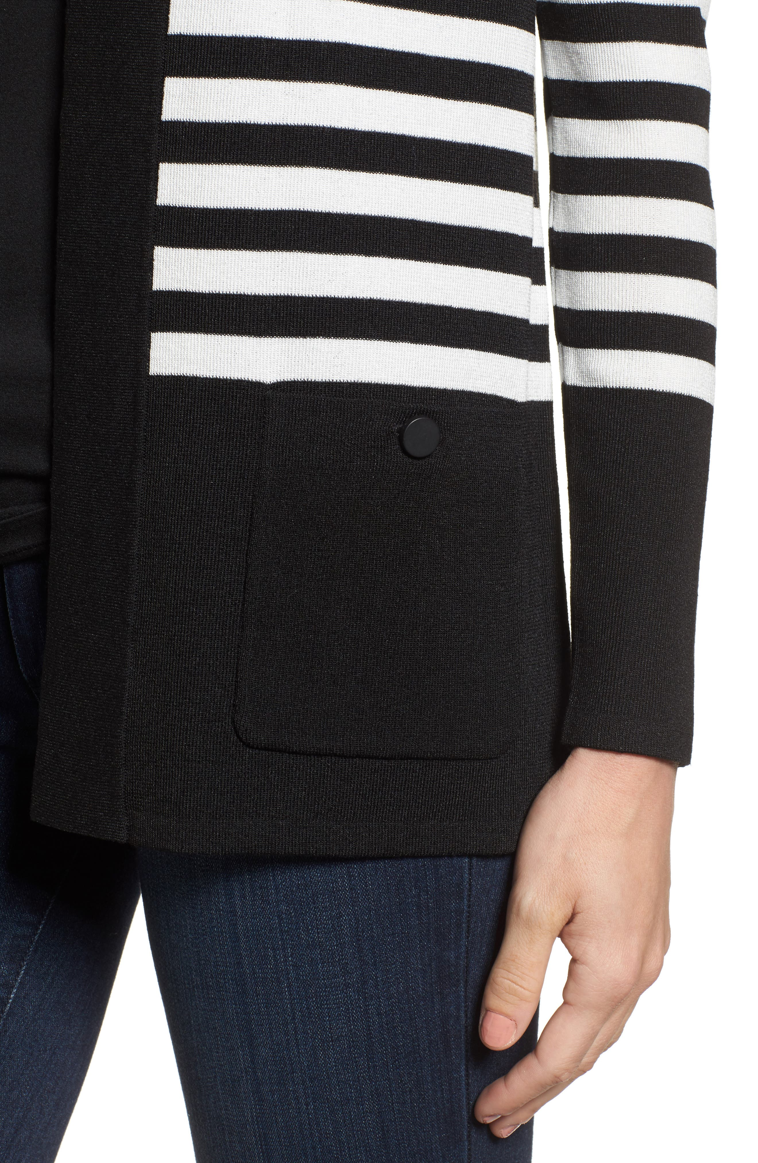 Patch Pocket Cardigan,                             Alternate thumbnail 4, color,                             BLACK/ WHITE