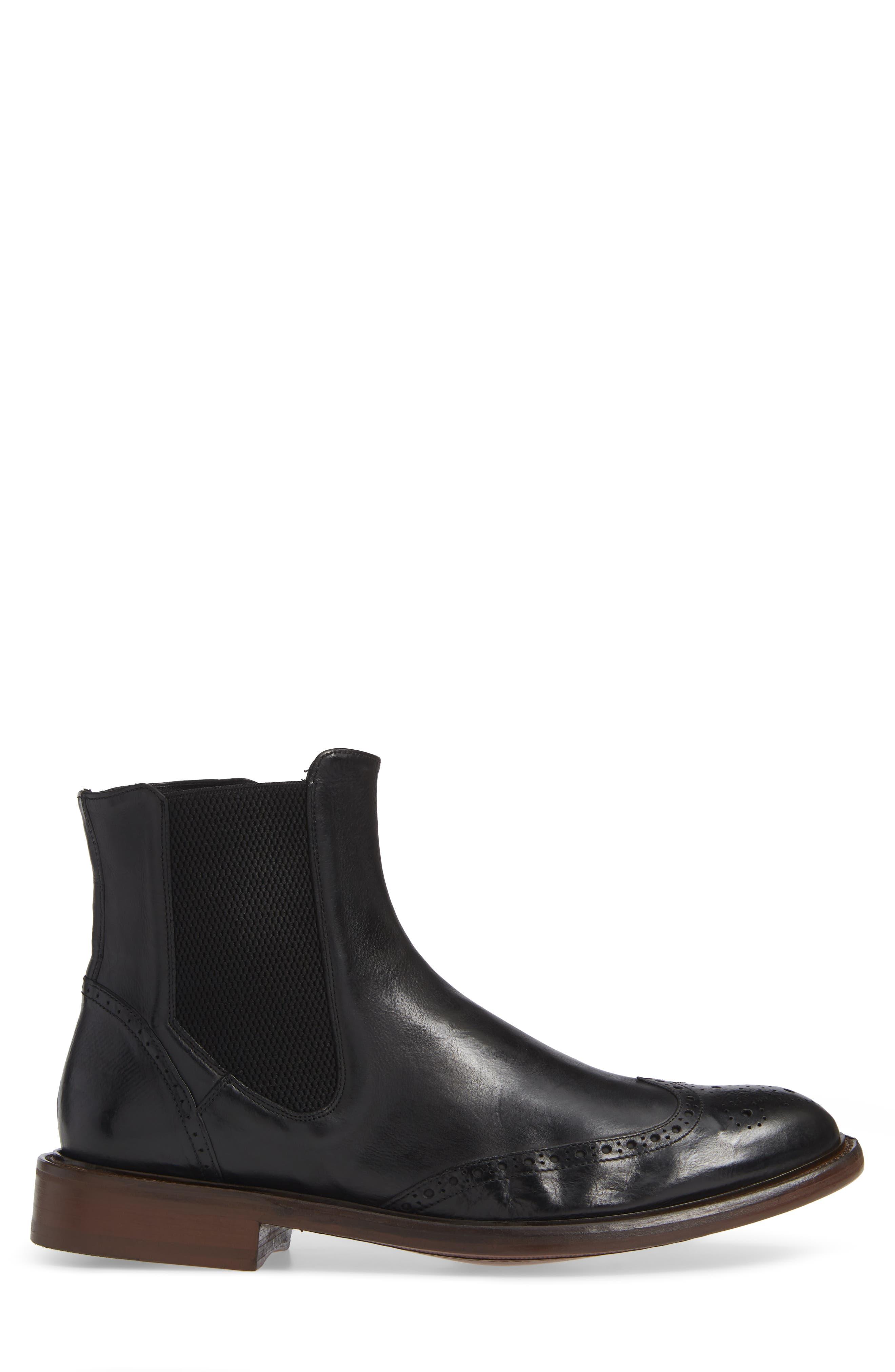 Bryson Wingtip Chelsea Boot,                             Alternate thumbnail 3, color,                             BLACK LEATHER