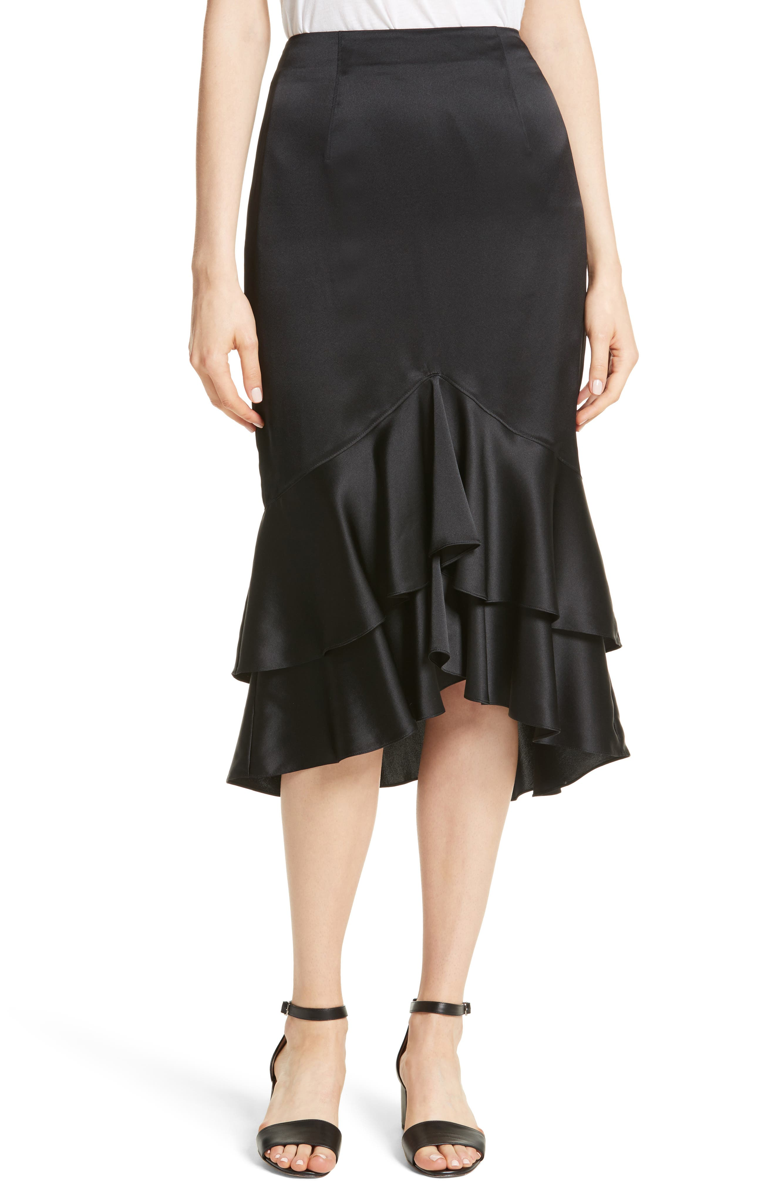 Anissa Silk Satin Ruffle Skirt,                             Main thumbnail 1, color,                             001