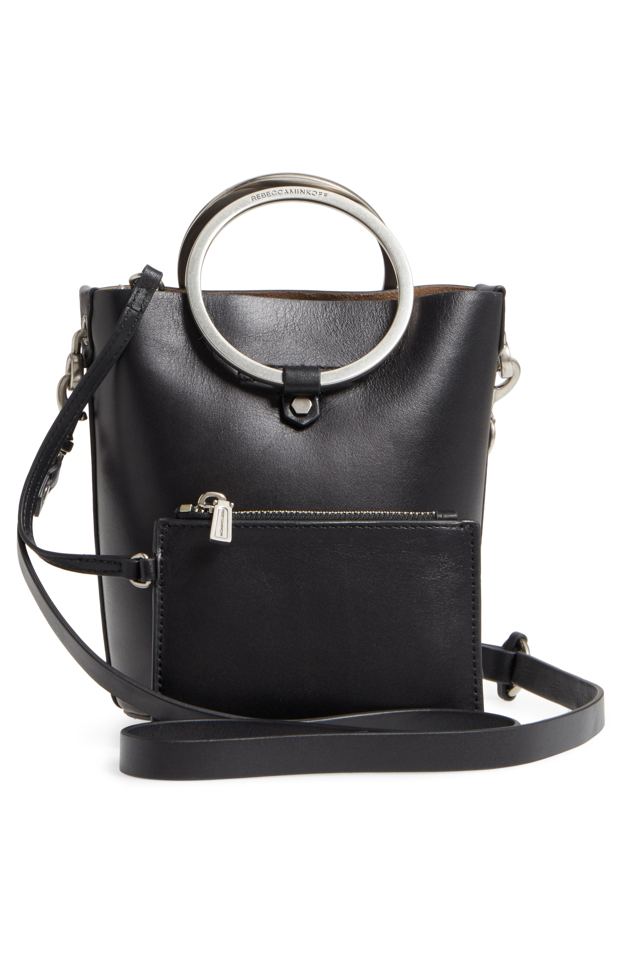 Ring Leather Bucket Bag,                             Alternate thumbnail 3, color,                             001