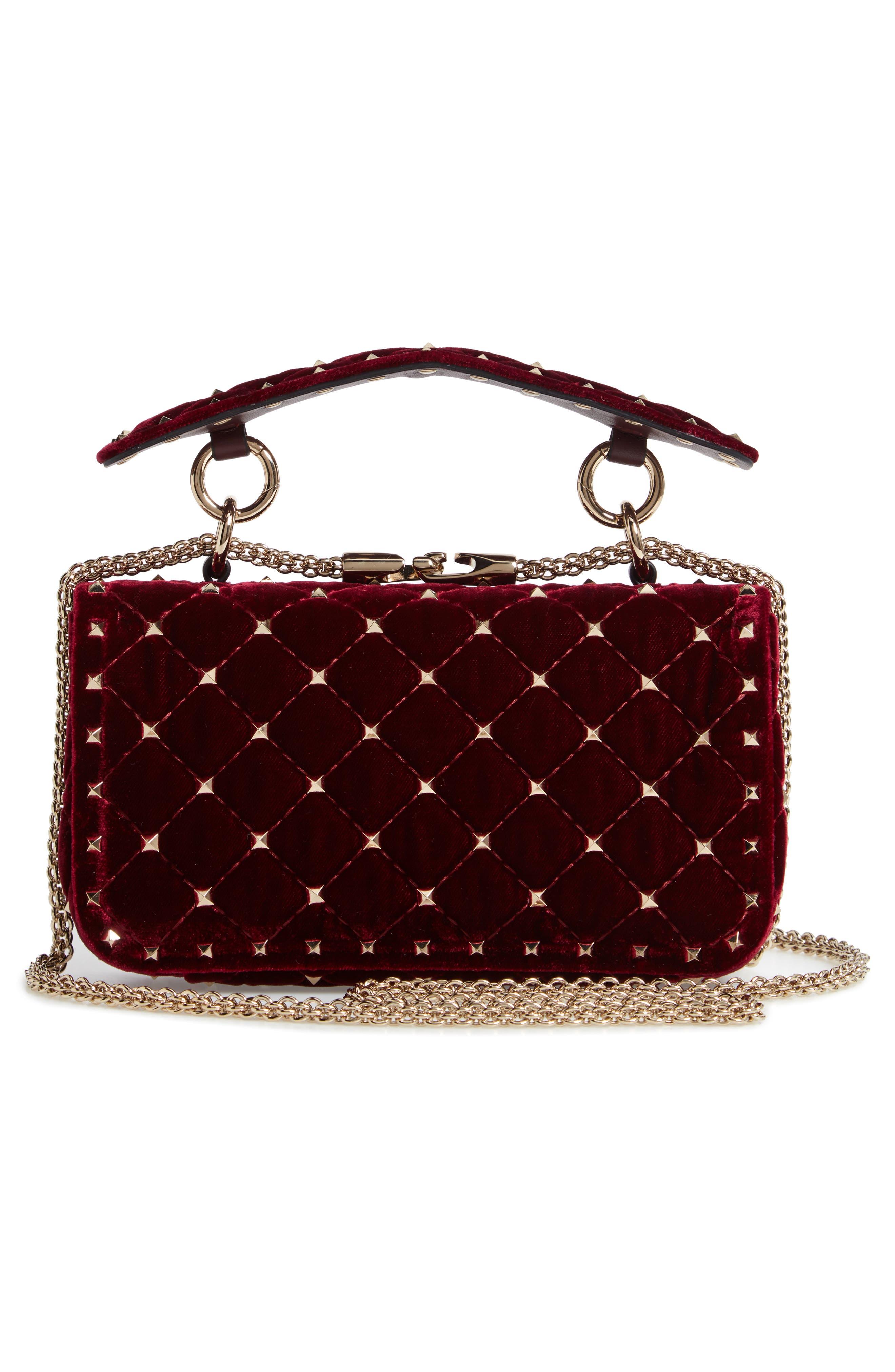 Rockstud Matelassé Velvet Small Shoulder Bag,                             Alternate thumbnail 3, color,                             RUBINO