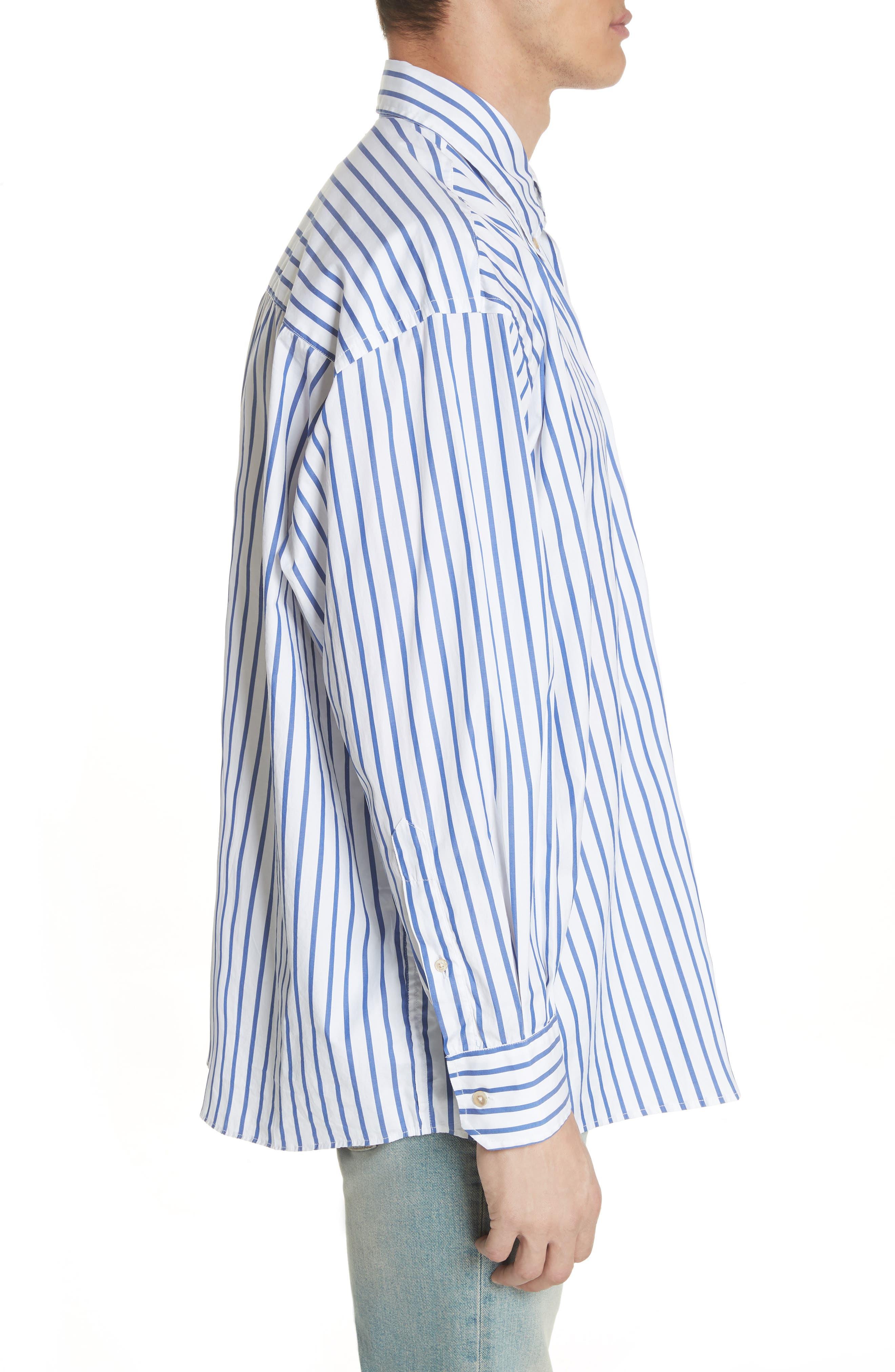Oversize Stripe Woven Shirt,                             Alternate thumbnail 3, color,                             400