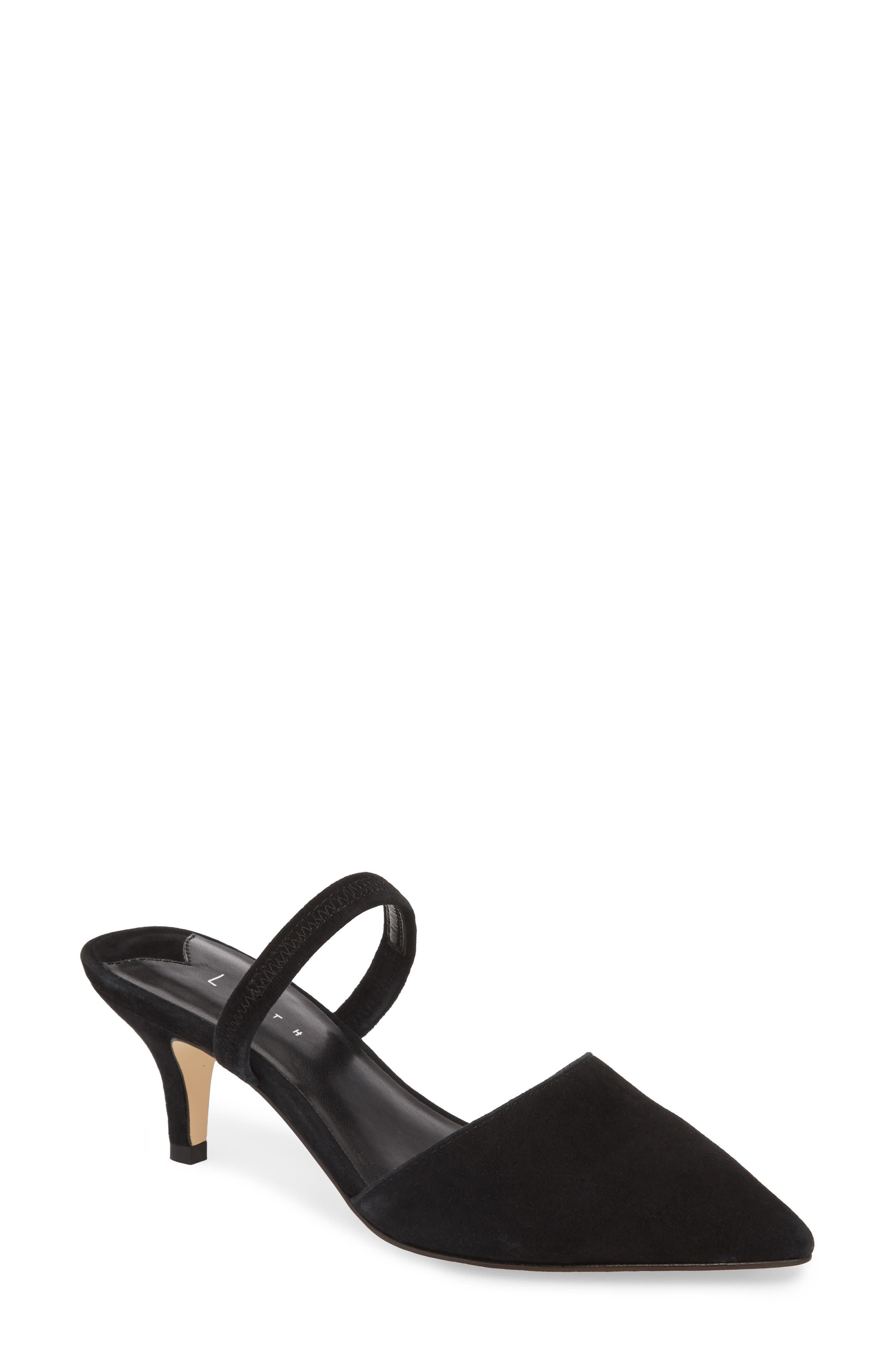Nikki Convertible Pump,                             Main thumbnail 1, color,                             BLACK SUEDE