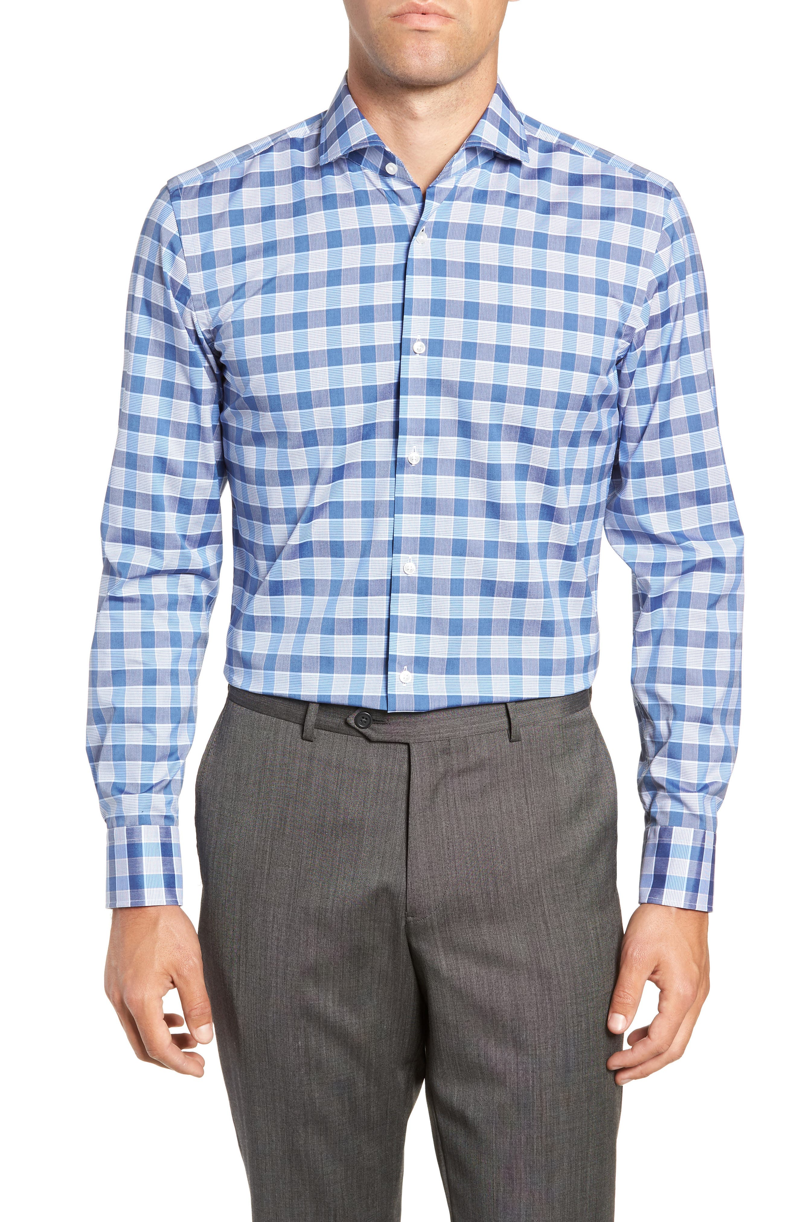 Jason Slim Fit Plaid Dress Shirt,                         Main,                         color, BLUE