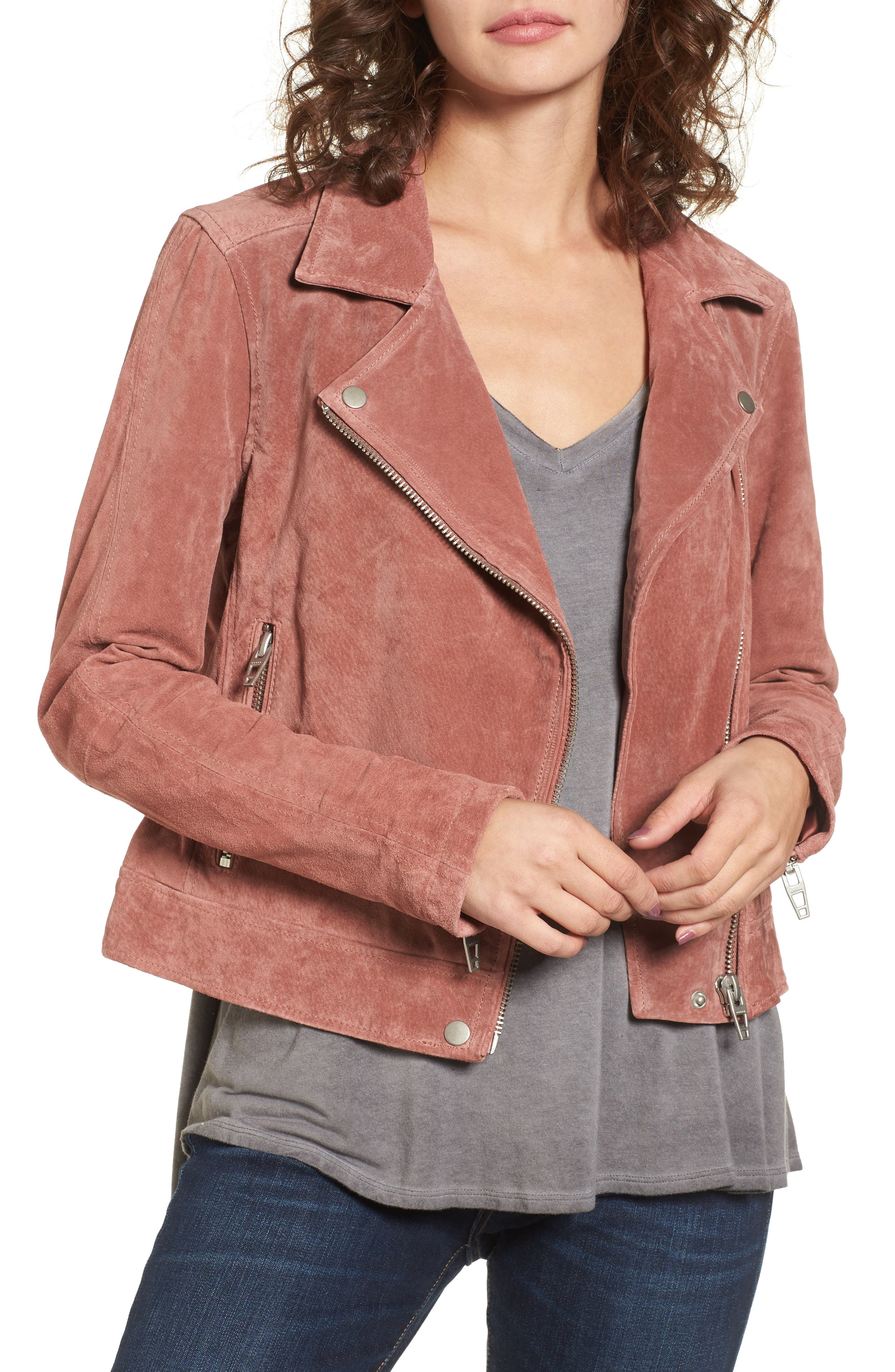 Suede Moto Jacket,                         Main,                         color, 201