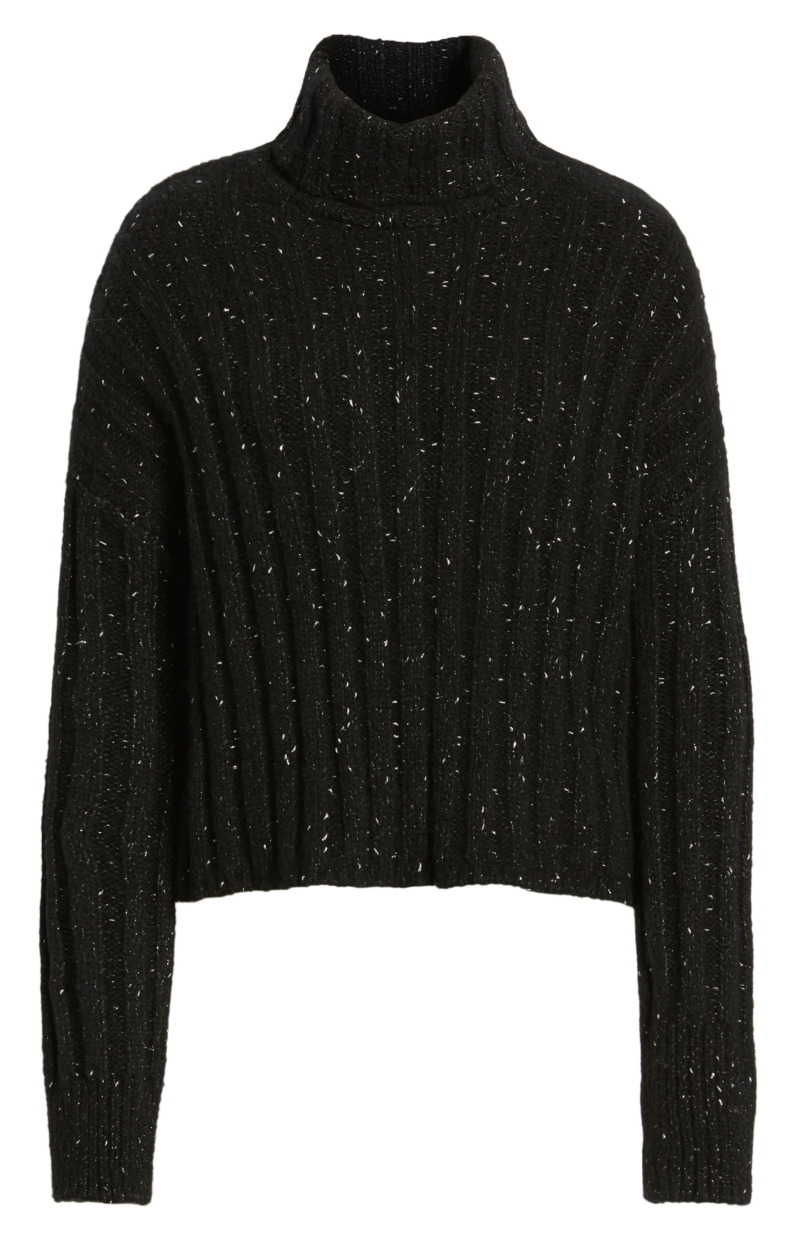 Side Slit Turtleneck Sweater,                             Alternate thumbnail 6, color,                             BLACK MIRROR