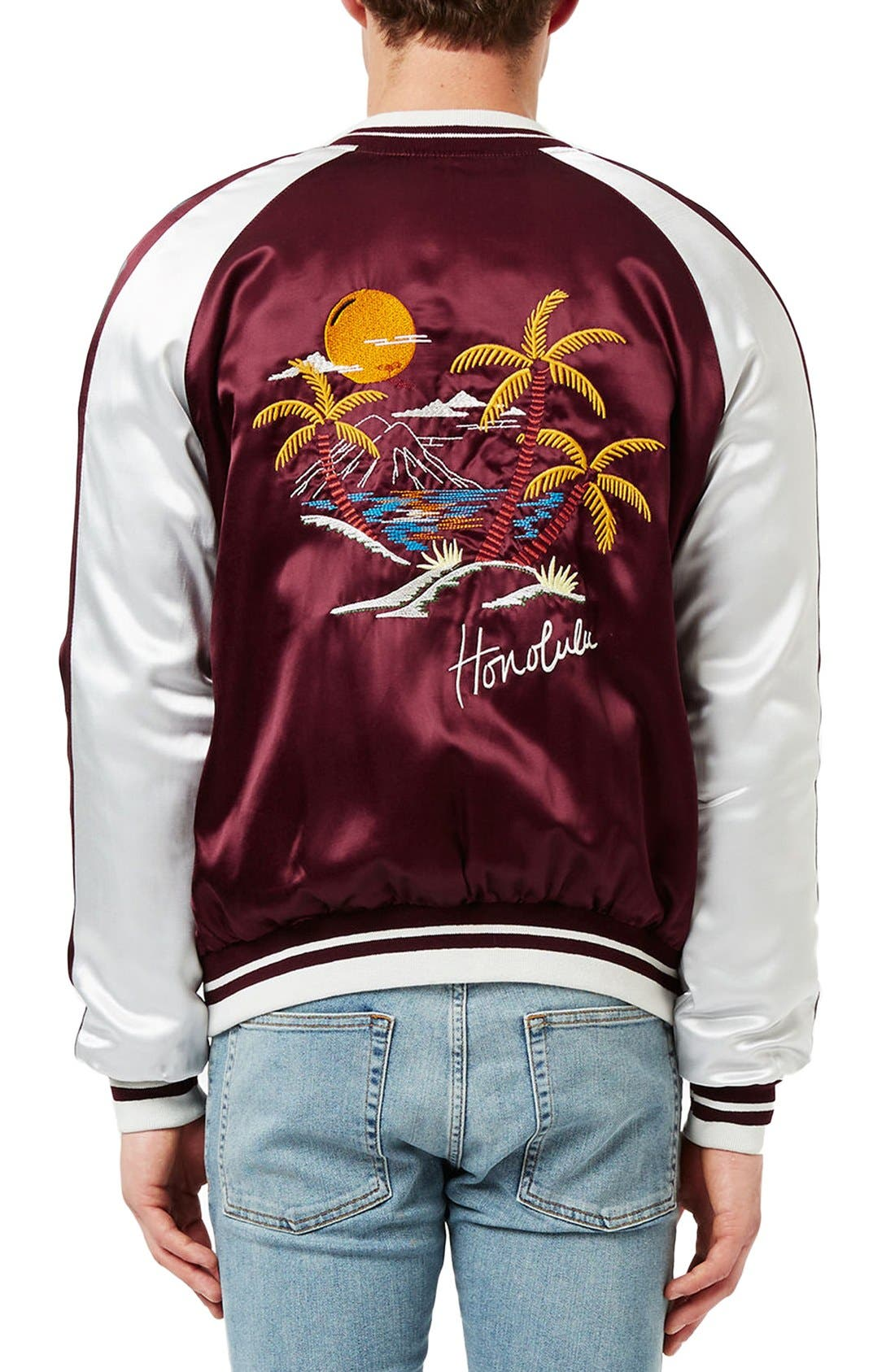 TOPMAN,                             Embroidered Honolulu Souvenir Jacket,                             Main thumbnail 1, color,                             930