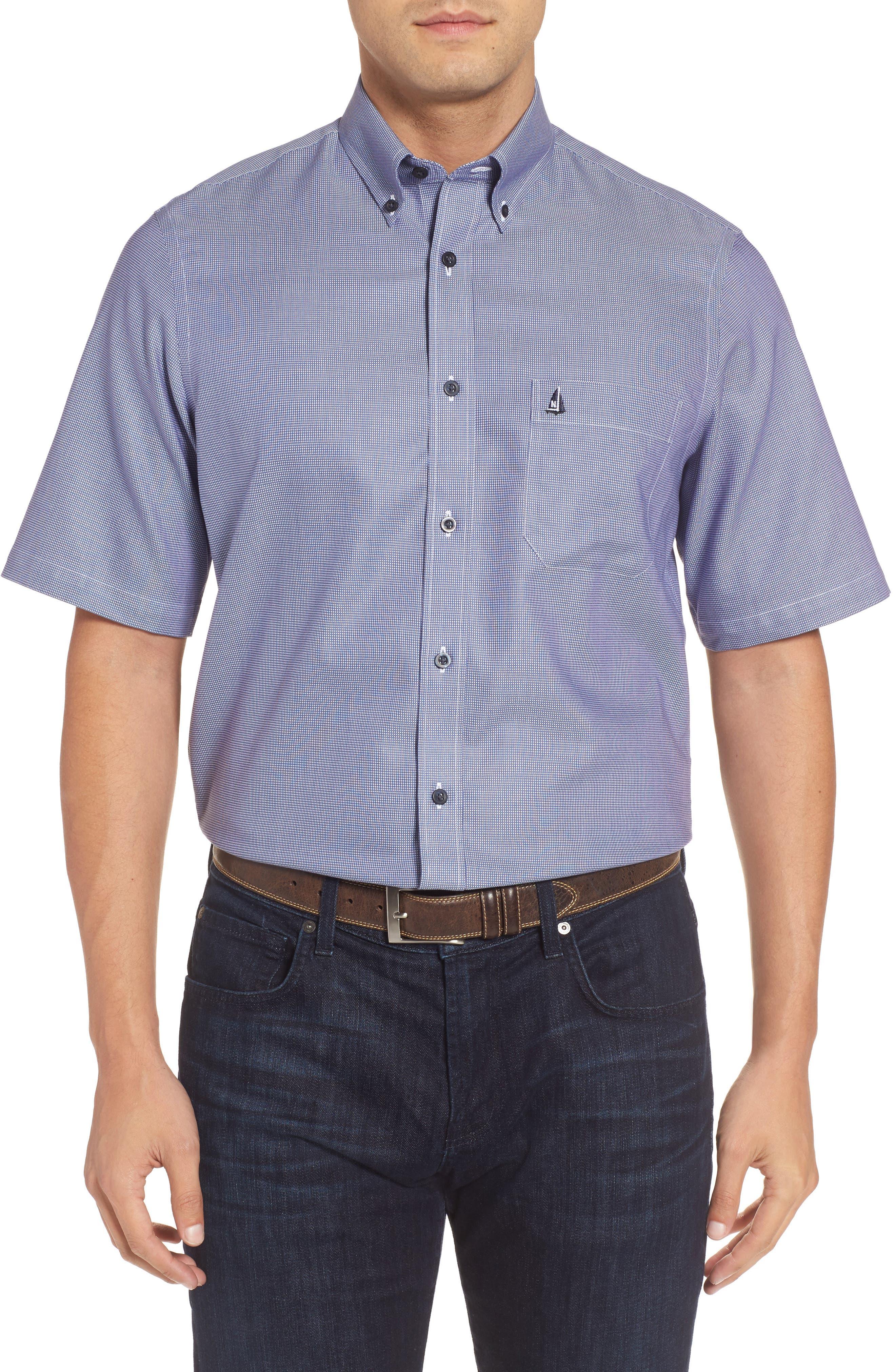 'Classic' Smartcare<sup>™</sup> Regular Fit Short Sleeve Cotton Sport Shirt,                             Alternate thumbnail 34, color,