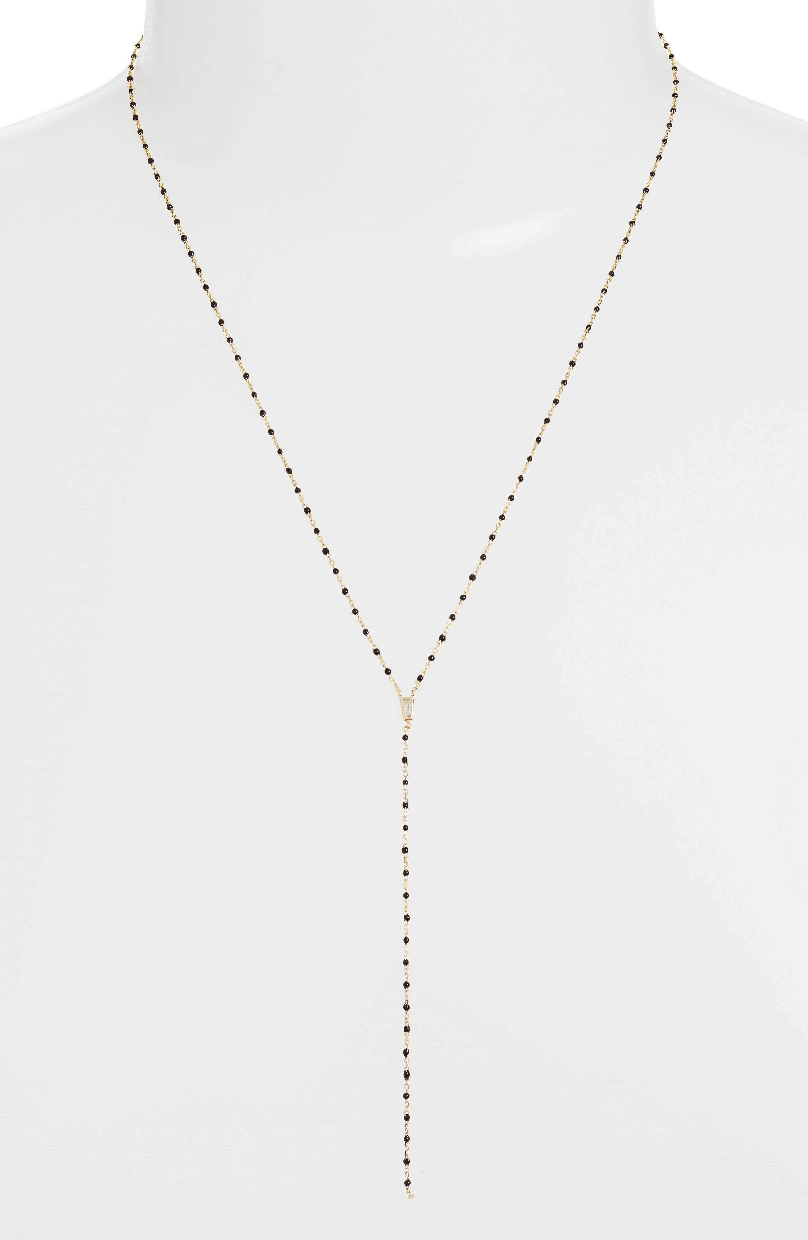 Beaded Lariat Necklace,                         Main,                         color, GOLD/ BLACK